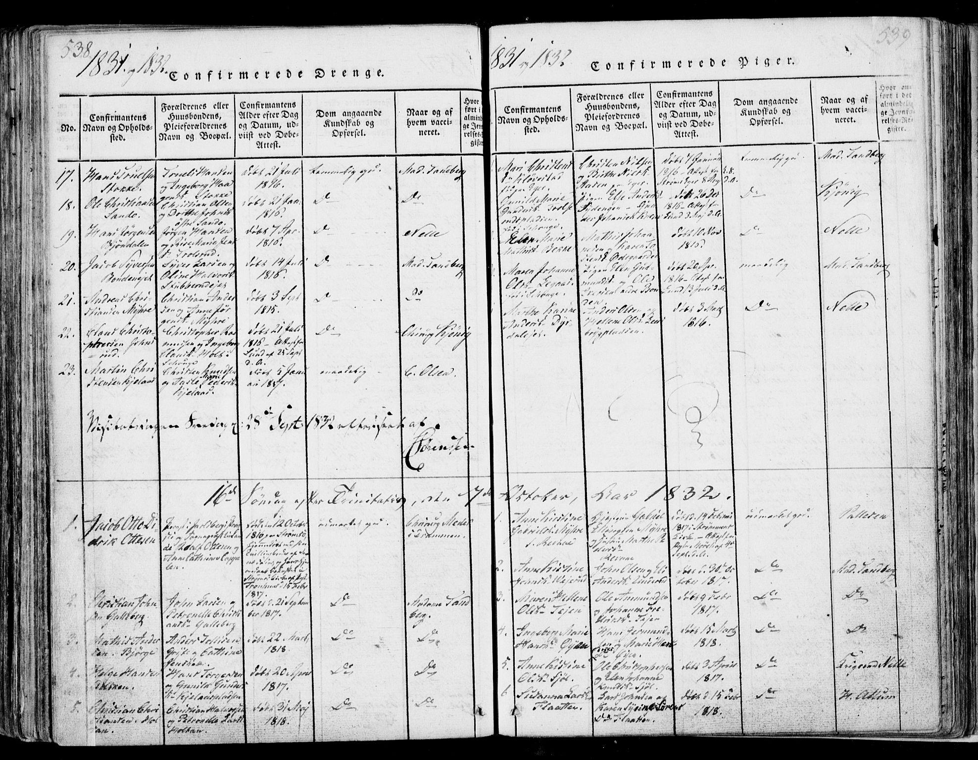 SAKO, Sande Kirkebøker, F/Fa/L0003: Ministerialbok nr. 3, 1814-1847, s. 538-539
