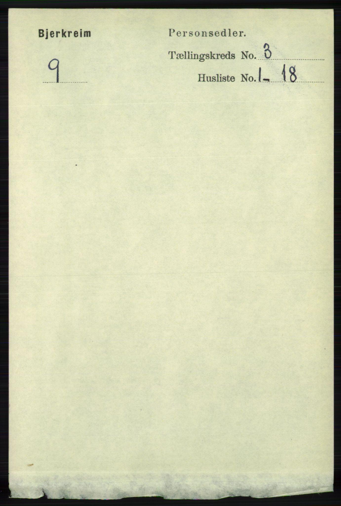 RA, Folketelling 1891 for 1114 Bjerkreim herred, 1891, s. 891