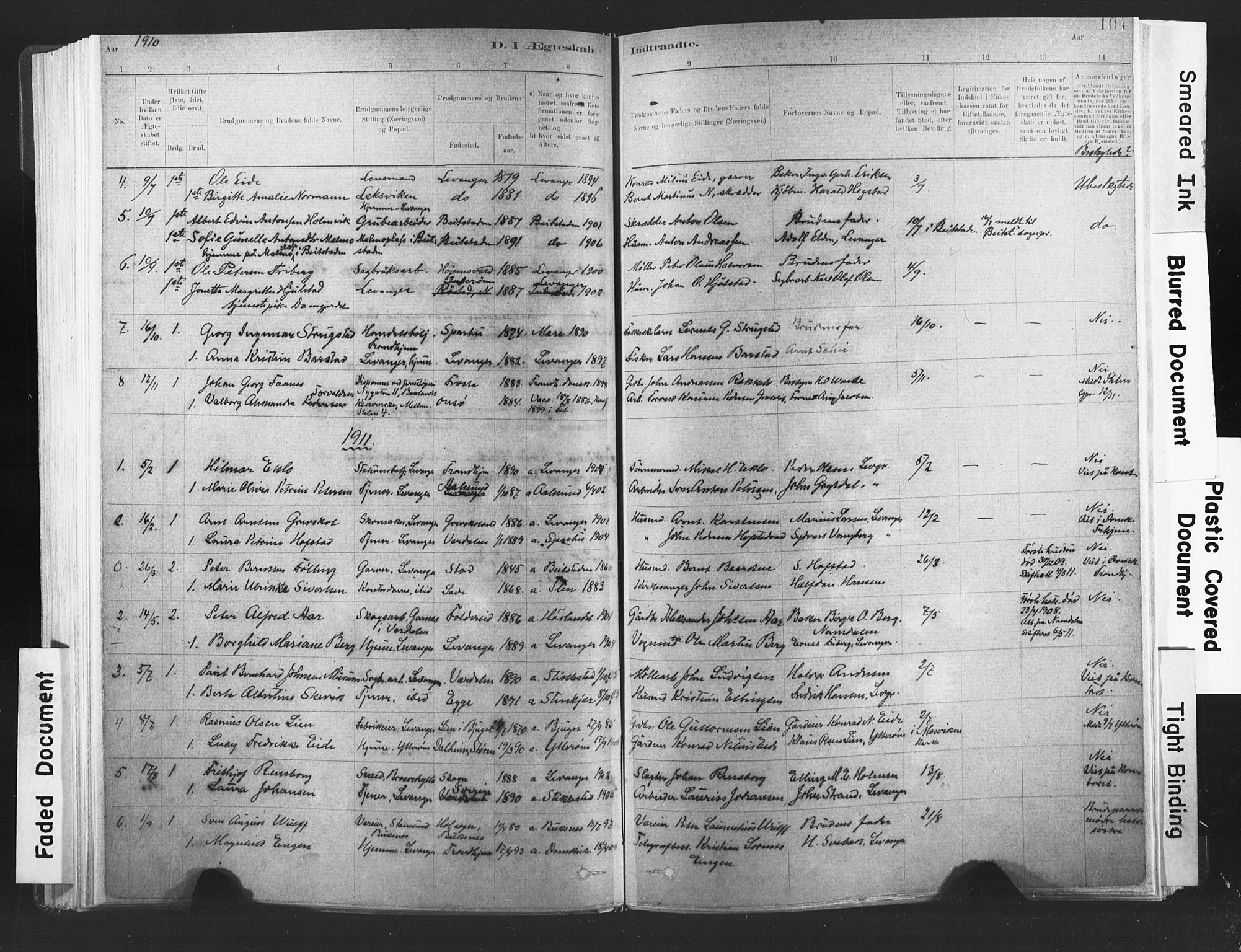 SAT, Ministerialprotokoller, klokkerbøker og fødselsregistre - Nord-Trøndelag, 720/L0189: Ministerialbok nr. 720A05, 1880-1911, s. 104