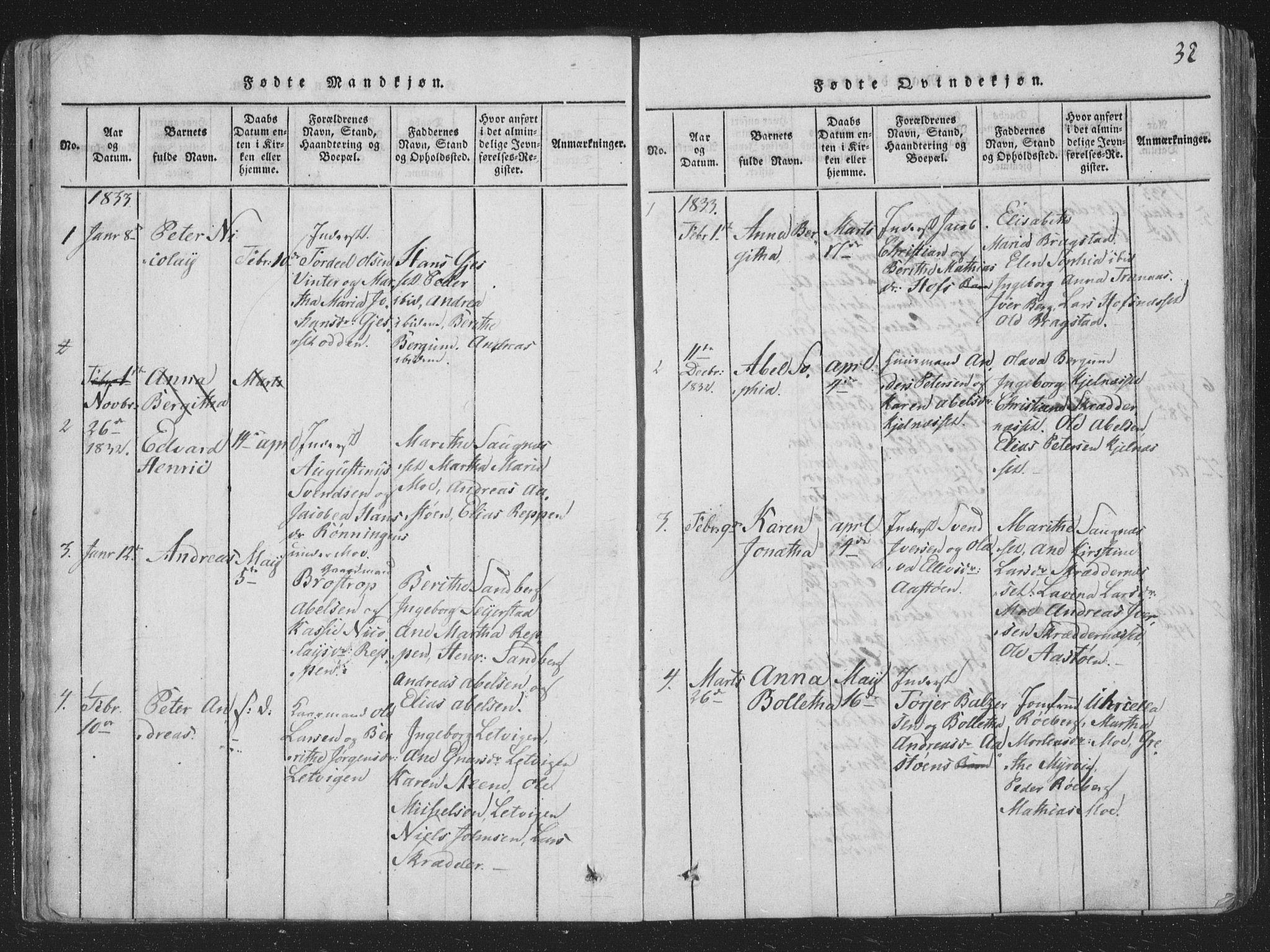 SAT, Ministerialprotokoller, klokkerbøker og fødselsregistre - Nord-Trøndelag, 773/L0613: Ministerialbok nr. 773A04, 1815-1845, s. 32