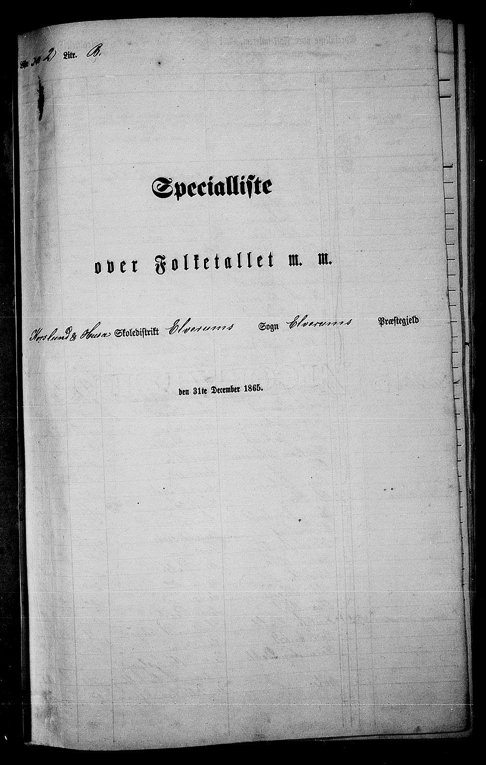 RA, Folketelling 1865 for 0427P Elverum prestegjeld, 1865, s. 50