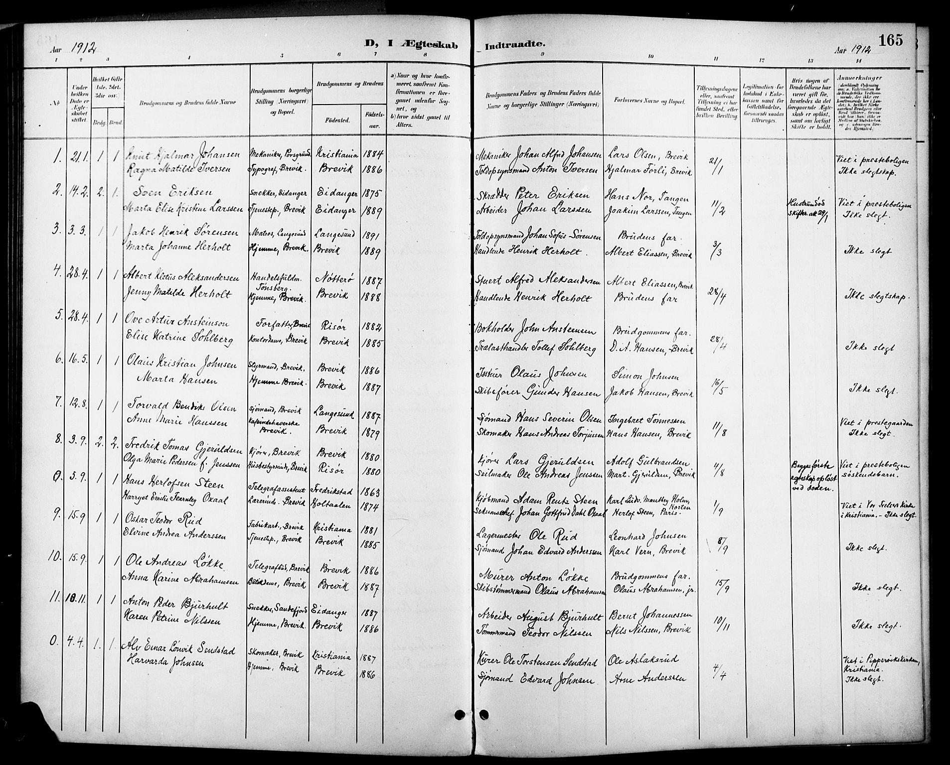 SAKO, Brevik kirkebøker, G/Ga/L0005: Klokkerbok nr. 5, 1901-1924, s. 165