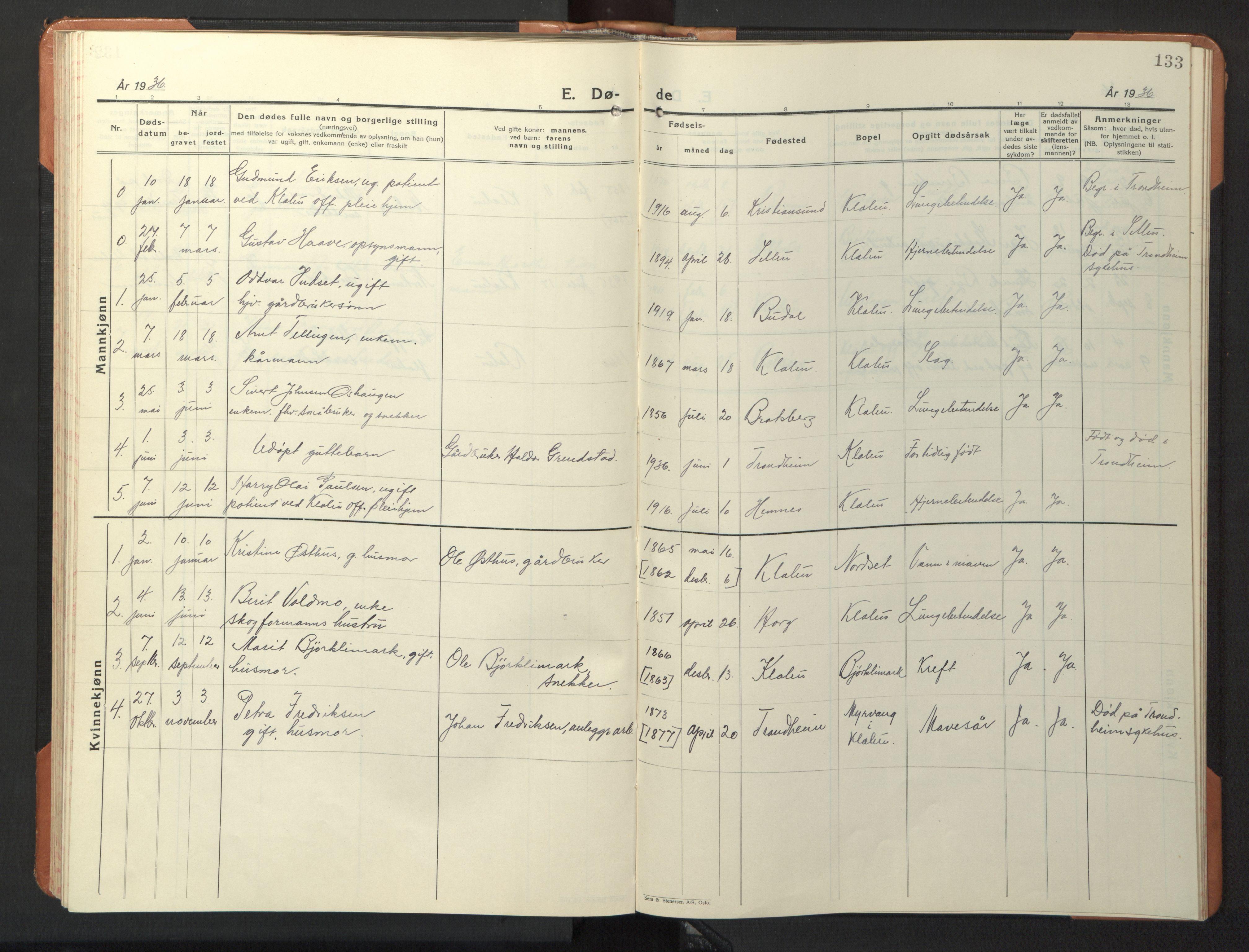 SAT, Ministerialprotokoller, klokkerbøker og fødselsregistre - Sør-Trøndelag, 618/L0454: Klokkerbok nr. 618C05, 1926-1946, s. 133