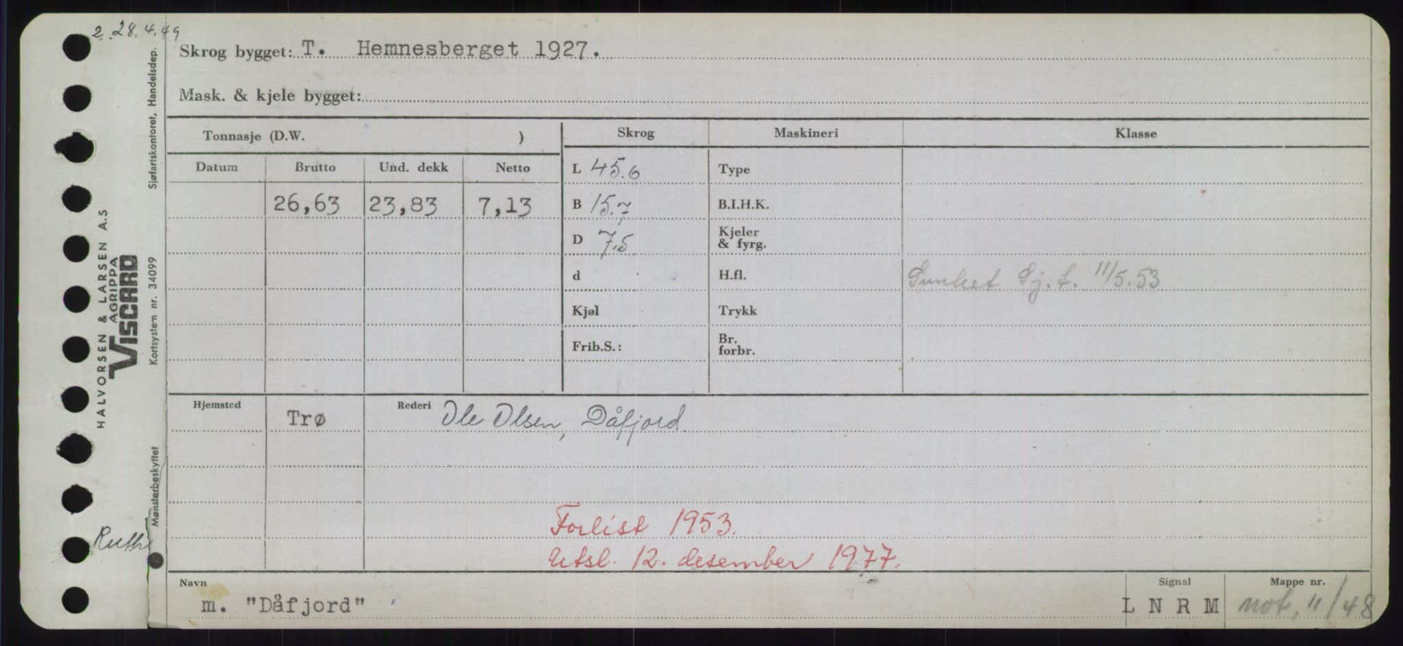 RA, Sjøfartsdirektoratet med forløpere, Skipsmålingen, H/Hd/L0008: Fartøy, C-D, s. 771