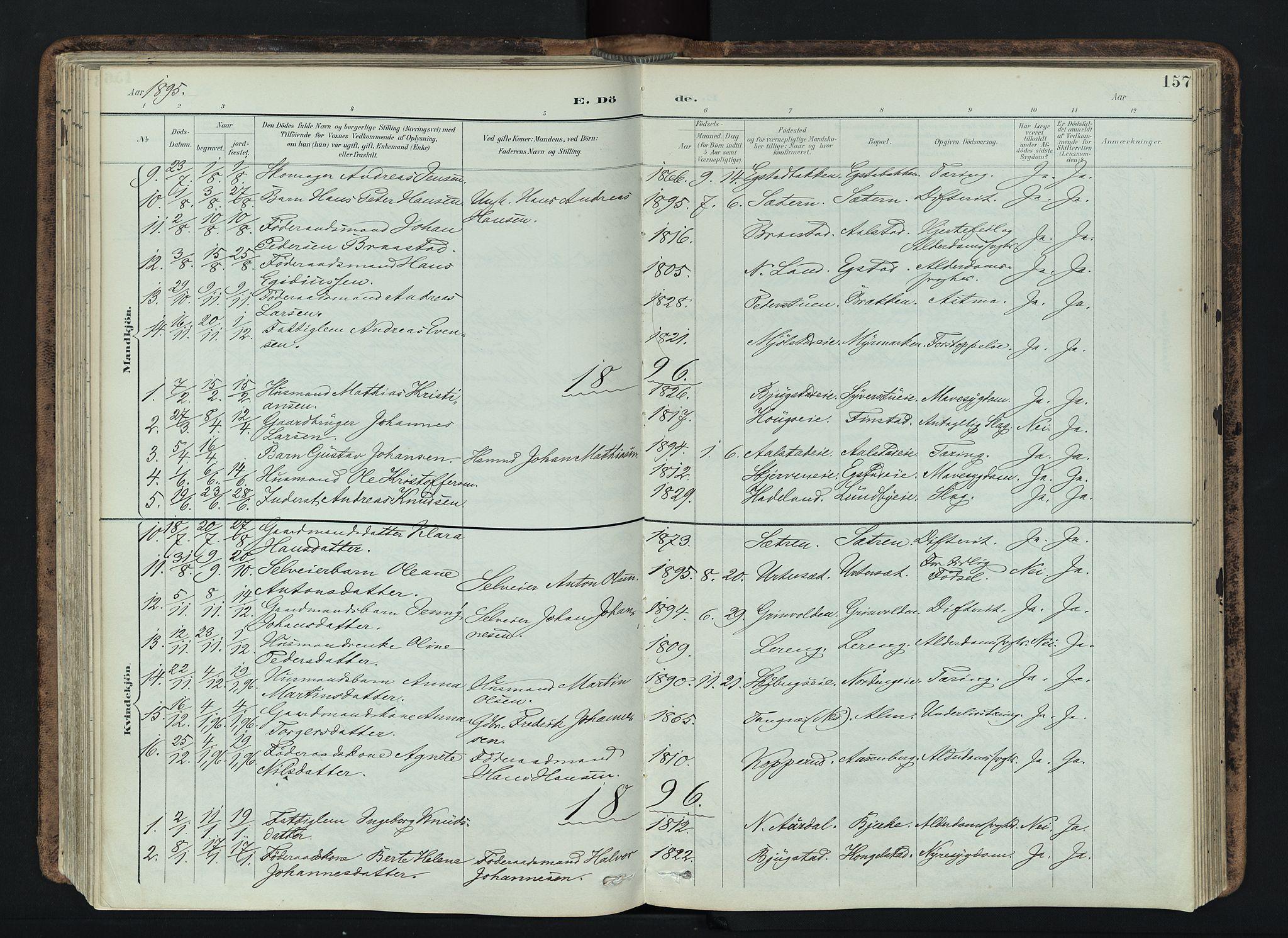 SAH, Vardal prestekontor, H/Ha/Haa/L0019: Ministerialbok nr. 19, 1893-1907, s. 157