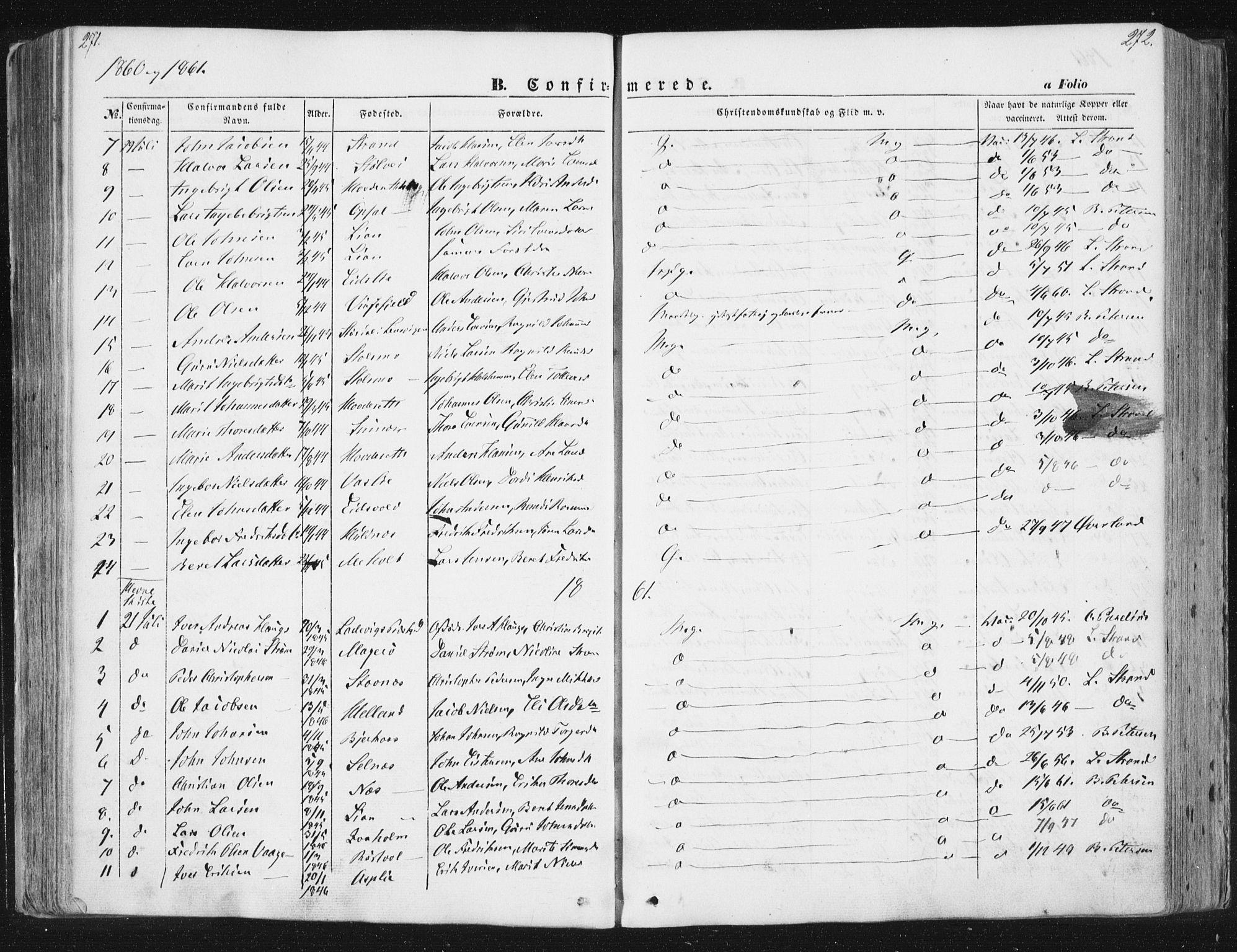 SAT, Ministerialprotokoller, klokkerbøker og fødselsregistre - Sør-Trøndelag, 630/L0494: Ministerialbok nr. 630A07, 1852-1868, s. 271-272
