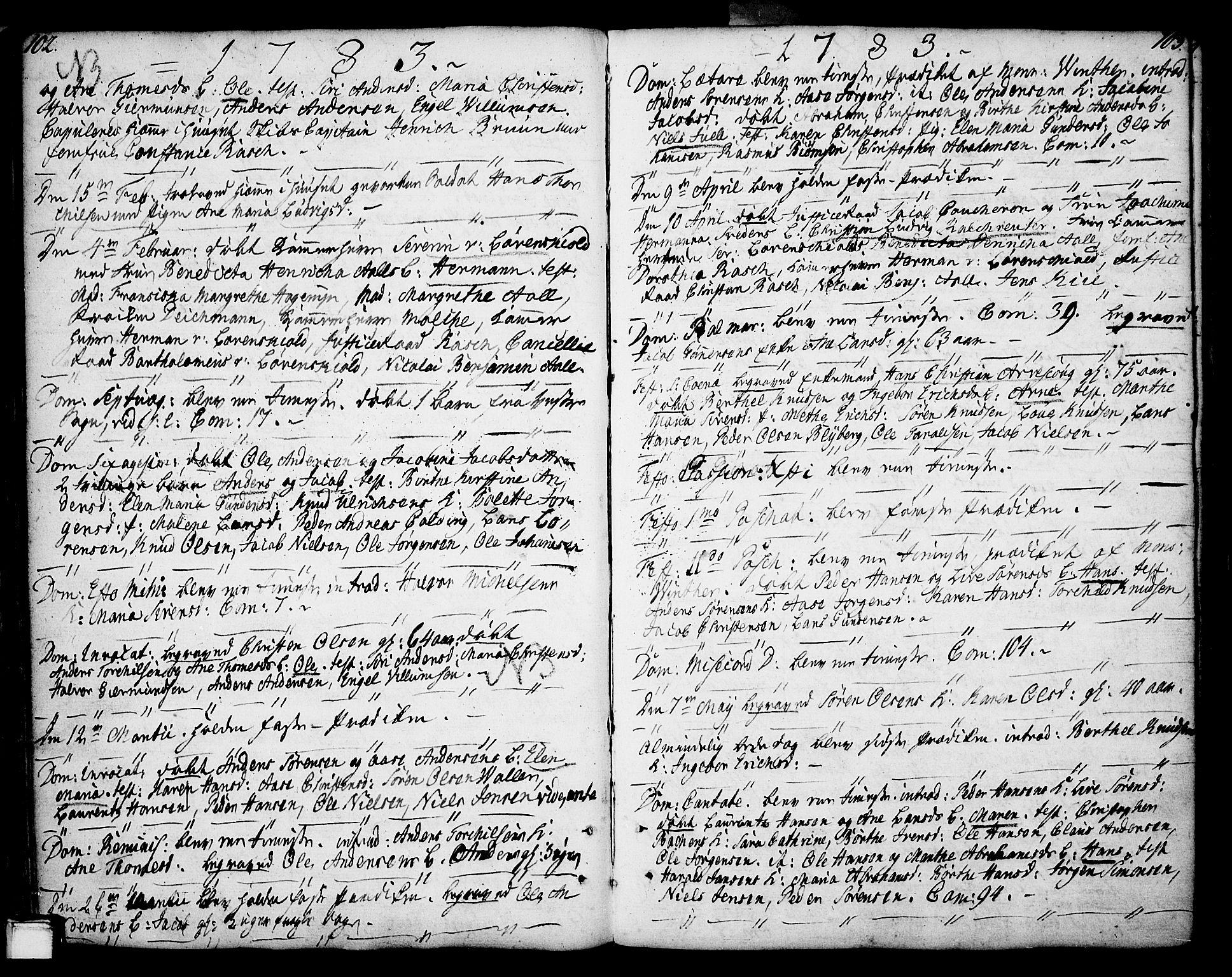 SAKO, Porsgrunn kirkebøker , F/Fa/L0002: Ministerialbok nr. 2, 1764-1814, s. 102-103