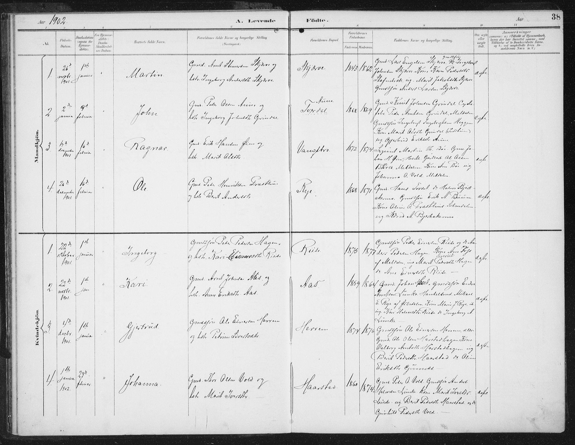SAT, Ministerialprotokoller, klokkerbøker og fødselsregistre - Sør-Trøndelag, 674/L0872: Ministerialbok nr. 674A04, 1897-1907, s. 38