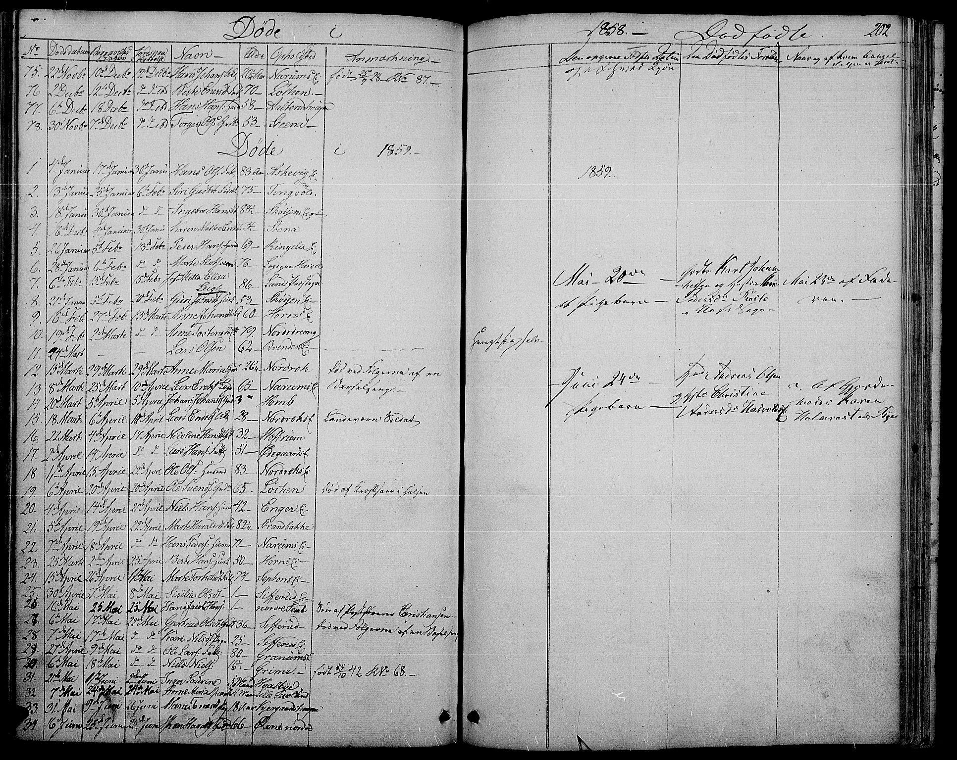 SAH, Søndre Land prestekontor, L/L0001: Klokkerbok nr. 1, 1849-1883, s. 202