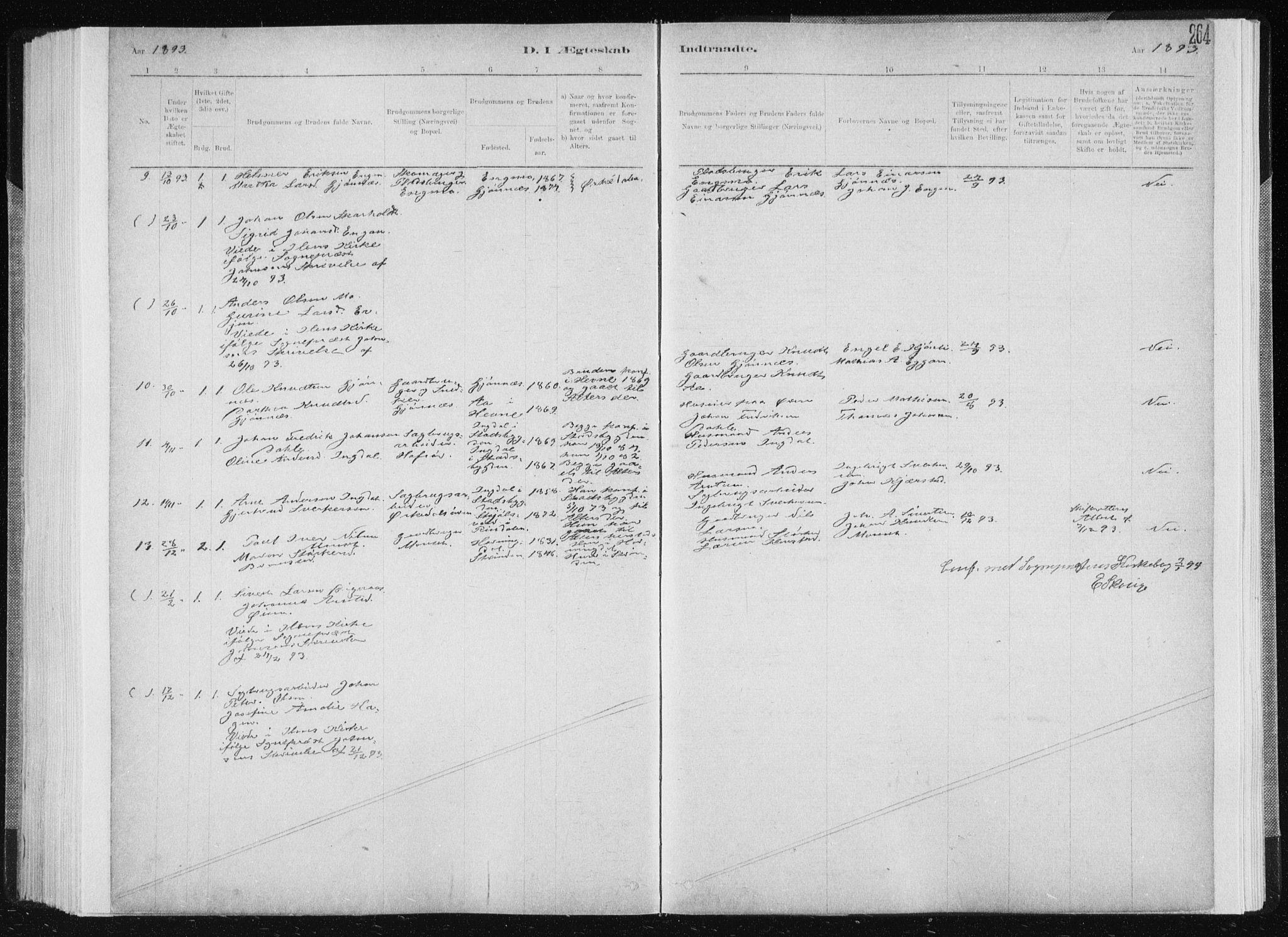 SAT, Ministerialprotokoller, klokkerbøker og fødselsregistre - Sør-Trøndelag, 668/L0818: Klokkerbok nr. 668C07, 1885-1898, s. 264
