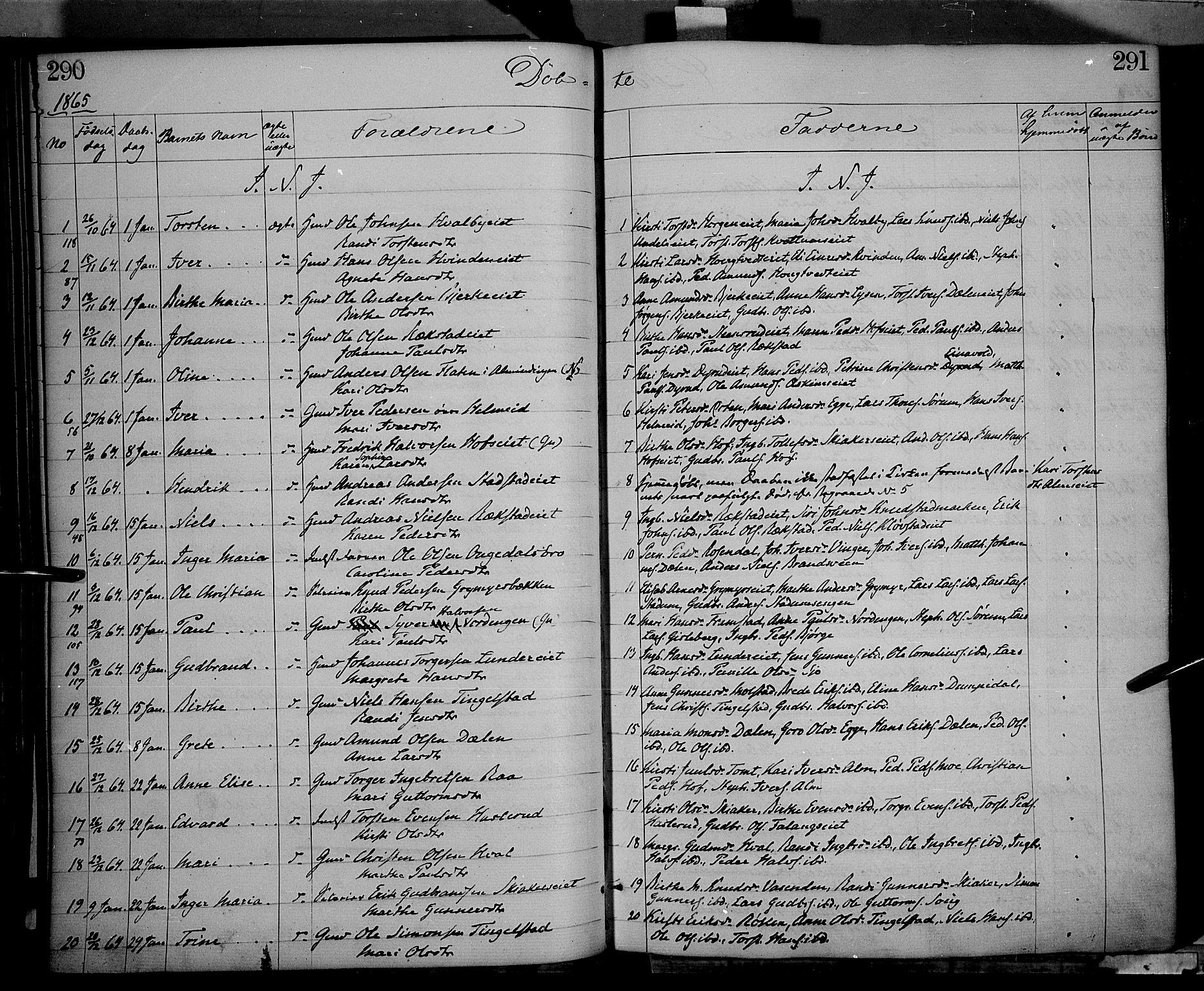 SAH, Gran prestekontor, Ministerialbok nr. 12, 1856-1874, s. 290-291