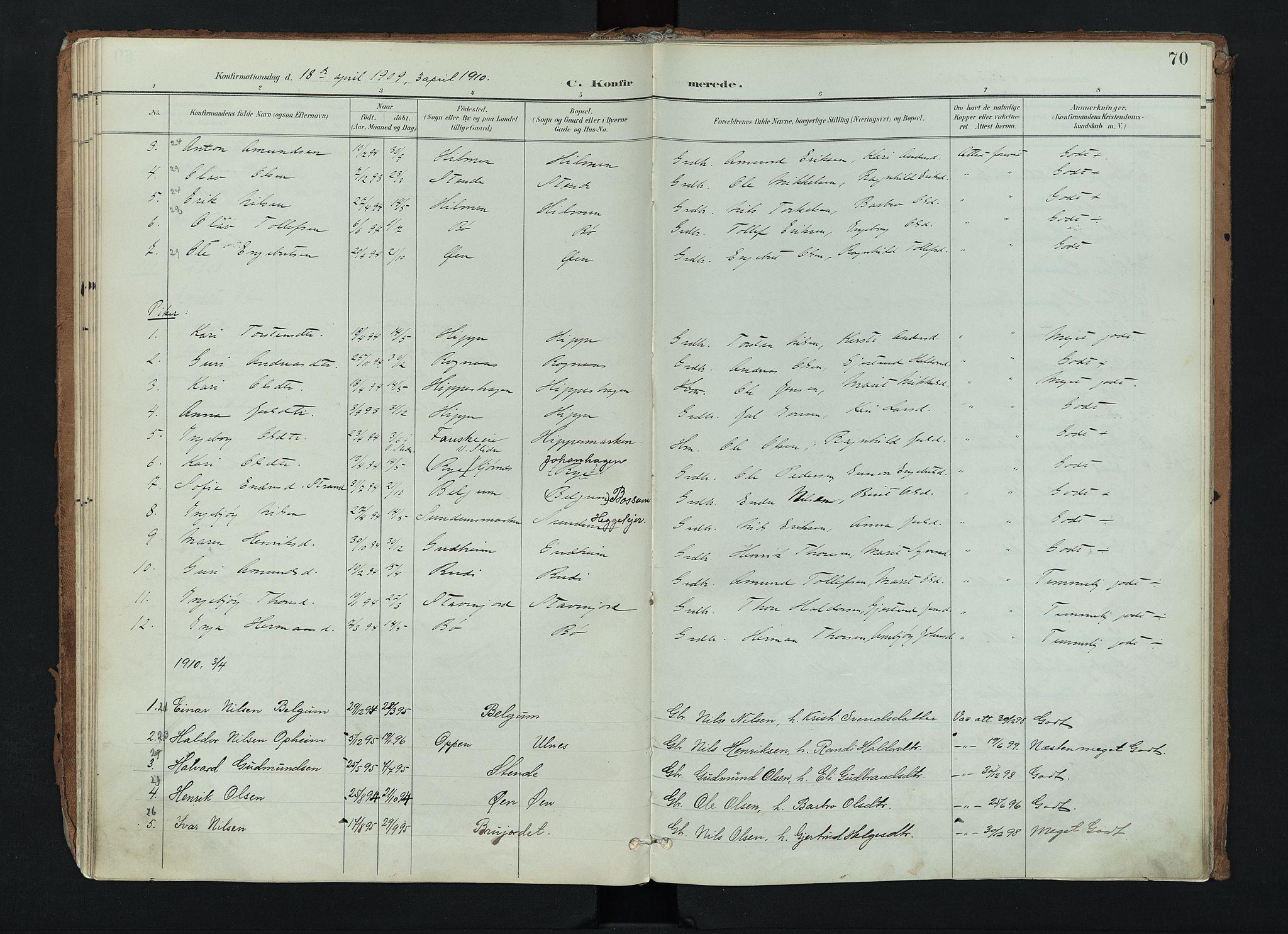 SAH, Nord-Aurdal prestekontor, Ministerialbok nr. 17, 1897-1926, s. 70