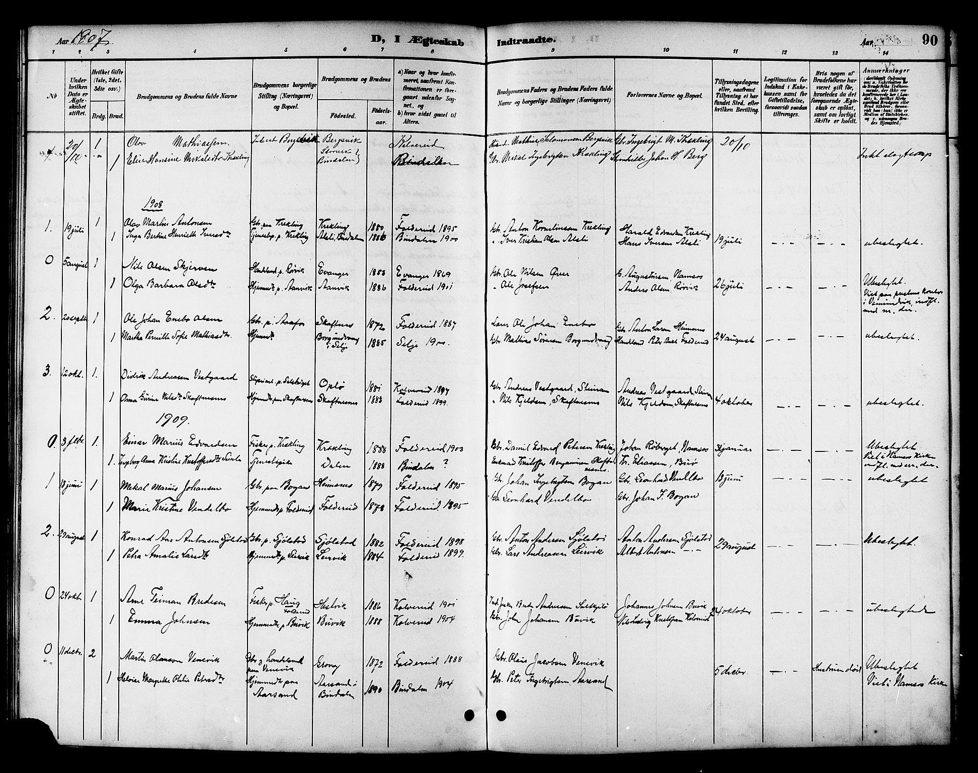SAT, Ministerialprotokoller, klokkerbøker og fødselsregistre - Nord-Trøndelag, 783/L0662: Klokkerbok nr. 783C02, 1894-1919, s. 90