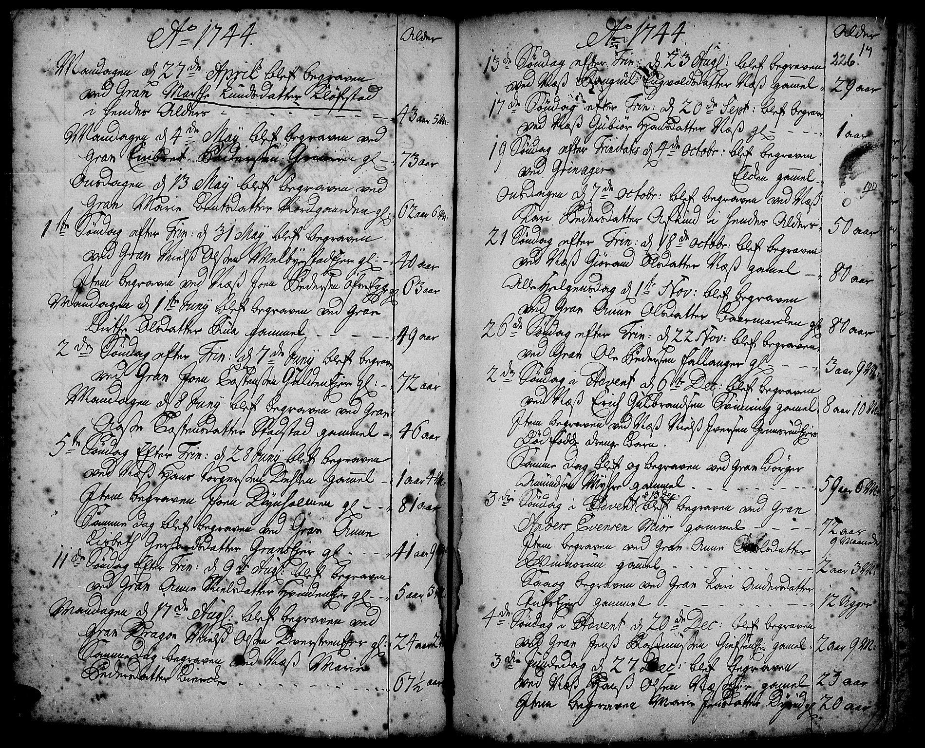 SAH, Gran prestekontor, Ministerialbok nr. 2, 1732-1744, s. 226