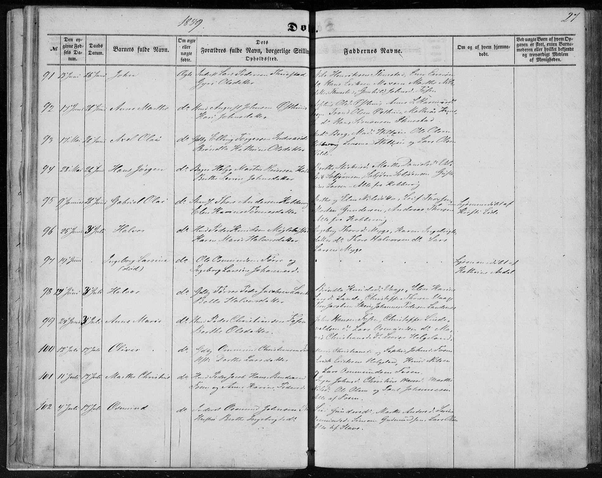 SAST, Avaldsnes sokneprestkontor, H/Ha/Haa/L0010: Ministerialbok nr. A 10, 1857-1876, s. 27