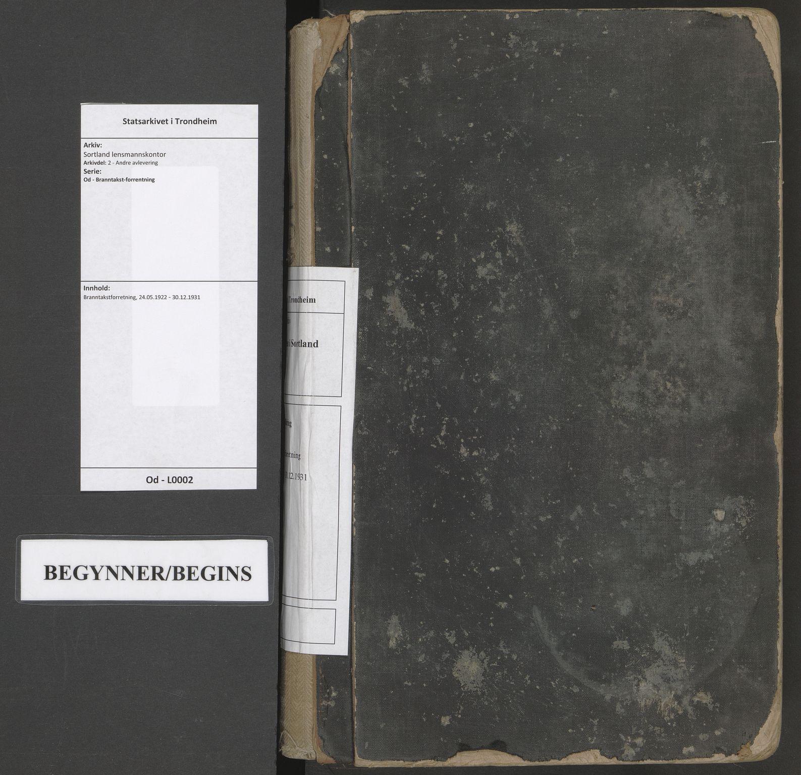 SAT, Sortland lensmannskontor, Od/L0002: Branntakstforretning, 1922-1931