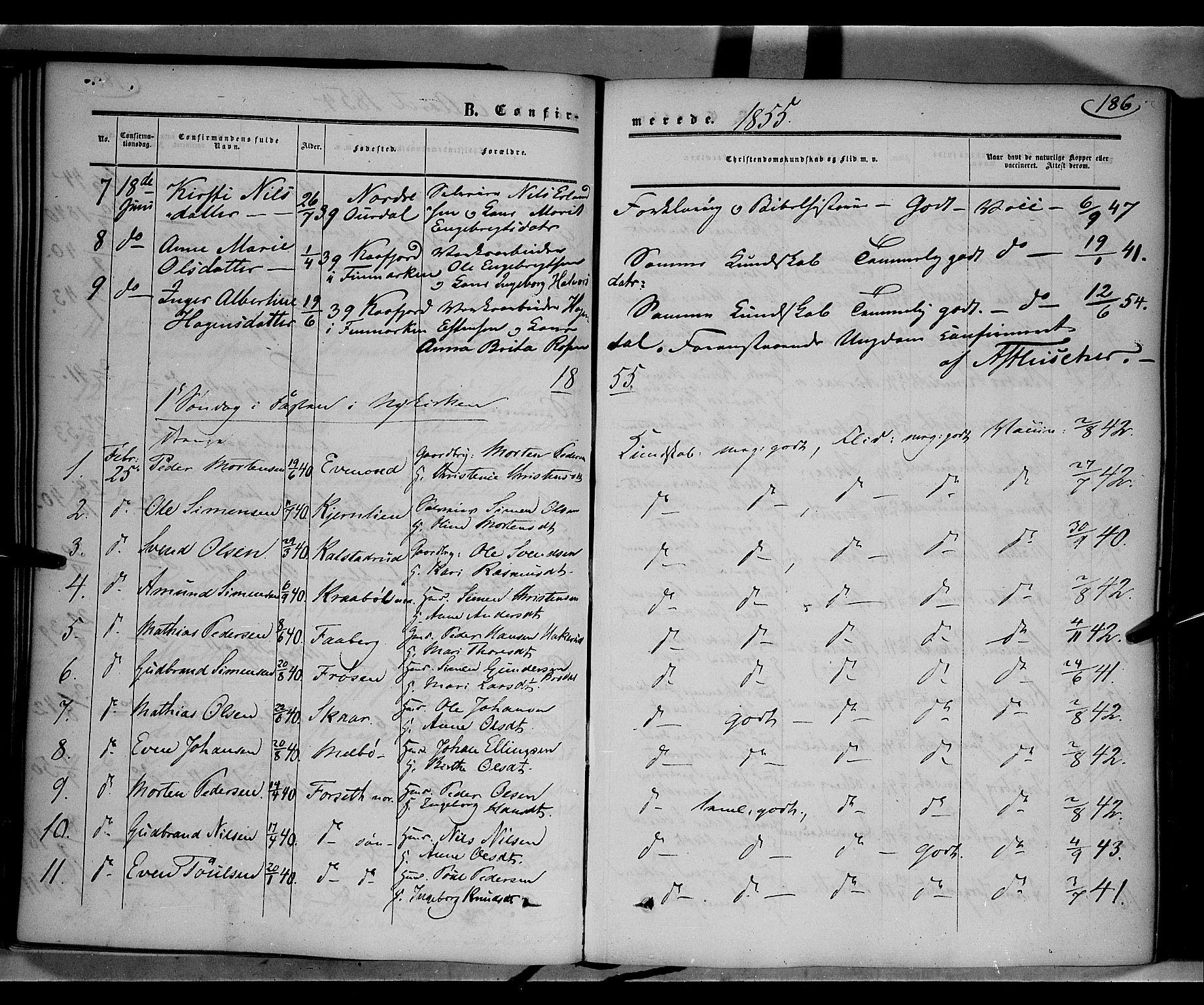 SAH, Gausdal prestekontor, Ministerialbok nr. 8, 1850-1861, s. 186