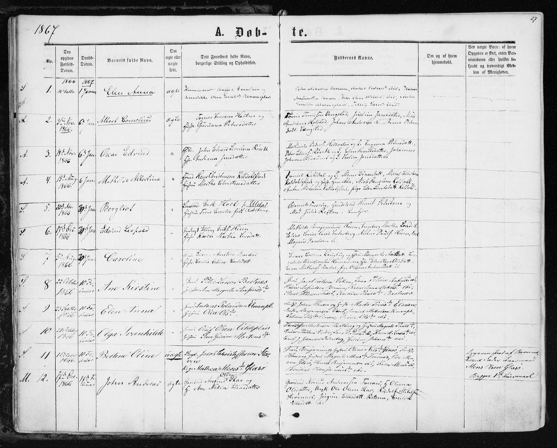 SAT, Ministerialprotokoller, klokkerbøker og fødselsregistre - Nord-Trøndelag, 741/L0394: Ministerialbok nr. 741A08, 1864-1877, s. 27