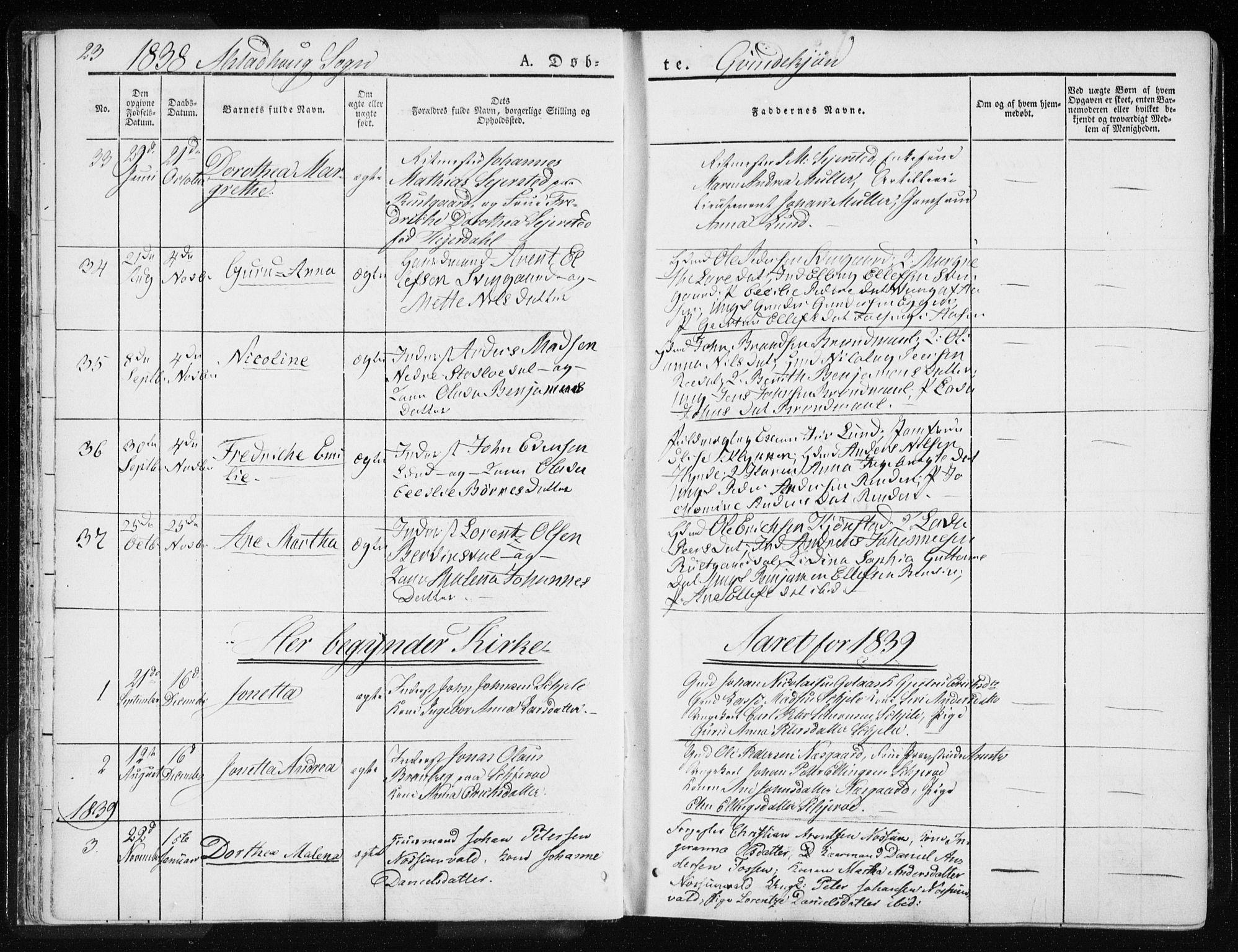 SAT, Ministerialprotokoller, klokkerbøker og fødselsregistre - Nord-Trøndelag, 717/L0154: Ministerialbok nr. 717A06 /1, 1836-1849, s. 23