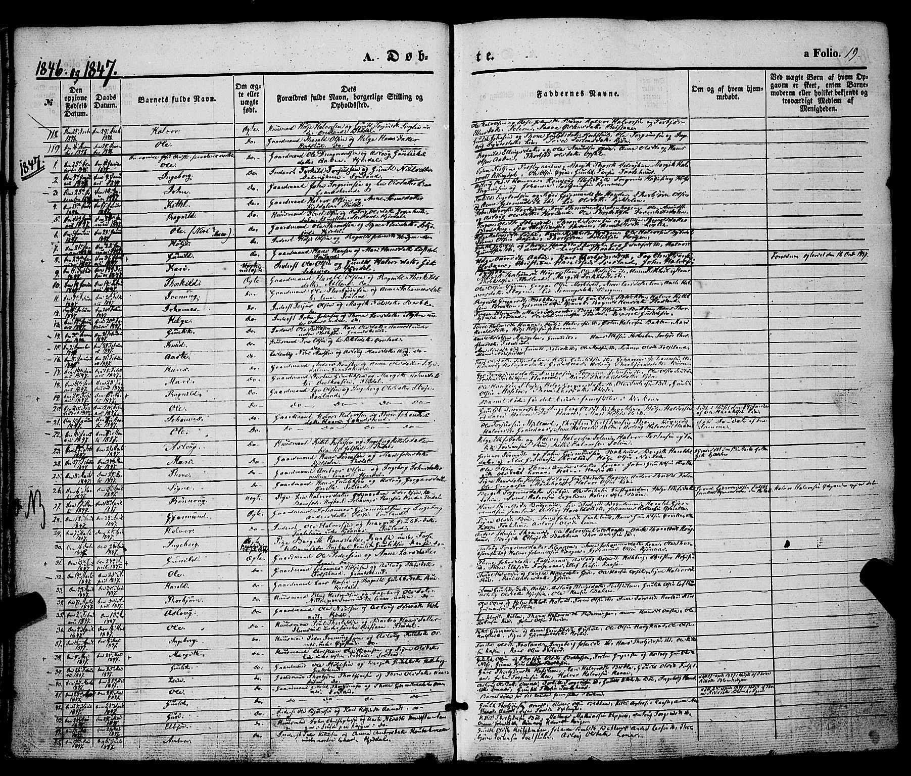 SAKO, Hjartdal kirkebøker, F/Fa/L0008: Ministerialbok nr. I 8, 1844-1859, s. 19