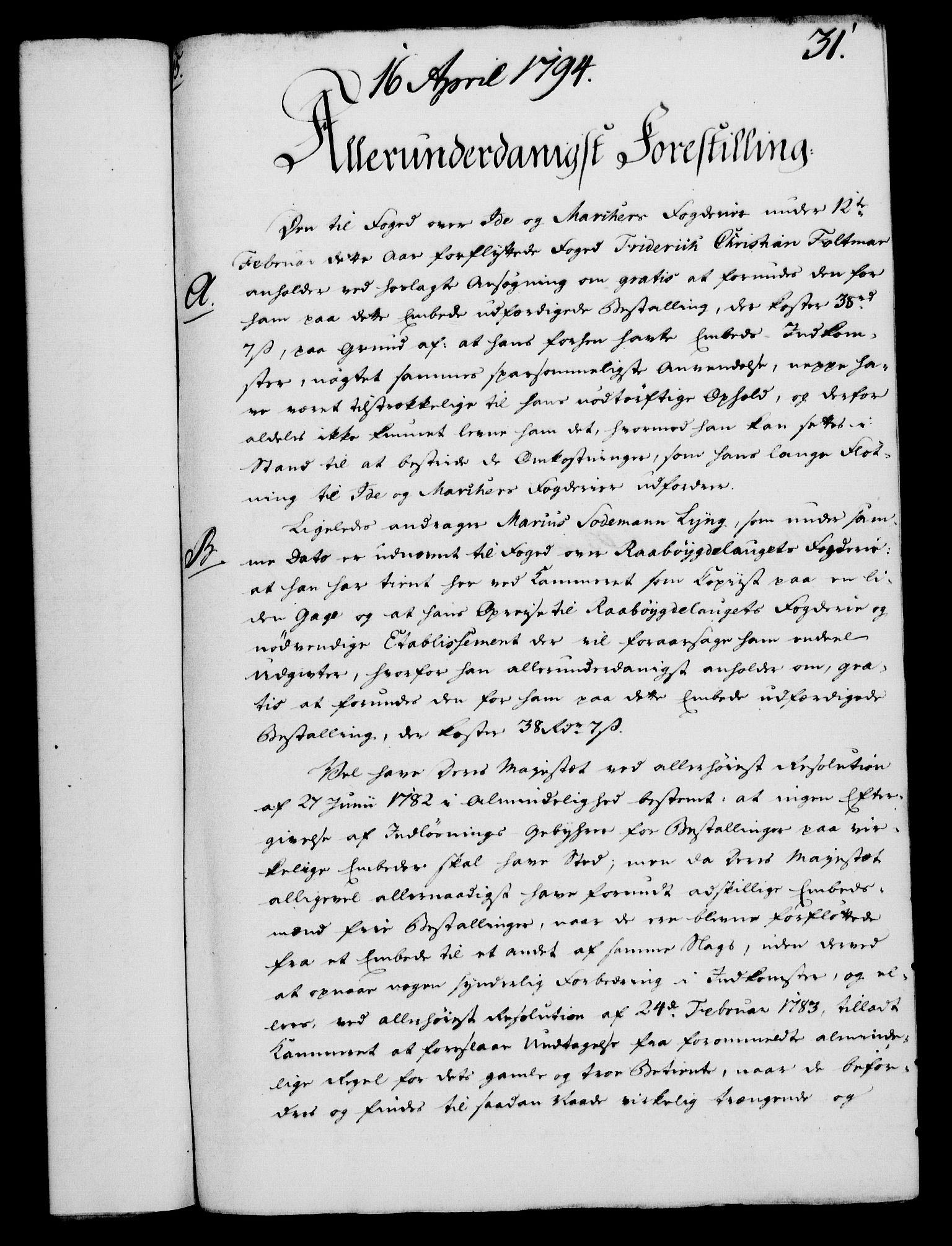 RA, Rentekammeret, Kammerkanselliet, G/Gf/Gfa/L0076: Norsk relasjons- og resolusjonsprotokoll (merket RK 52.76), 1794, s. 167
