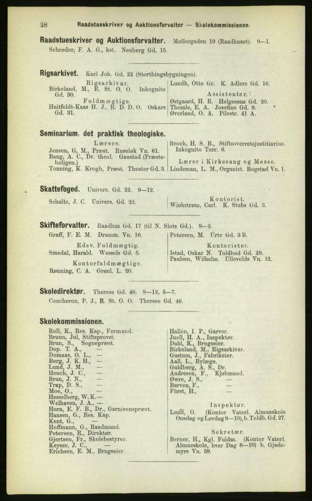 PUBL, Kristiania/Oslo adressebok, 1883, s. 28