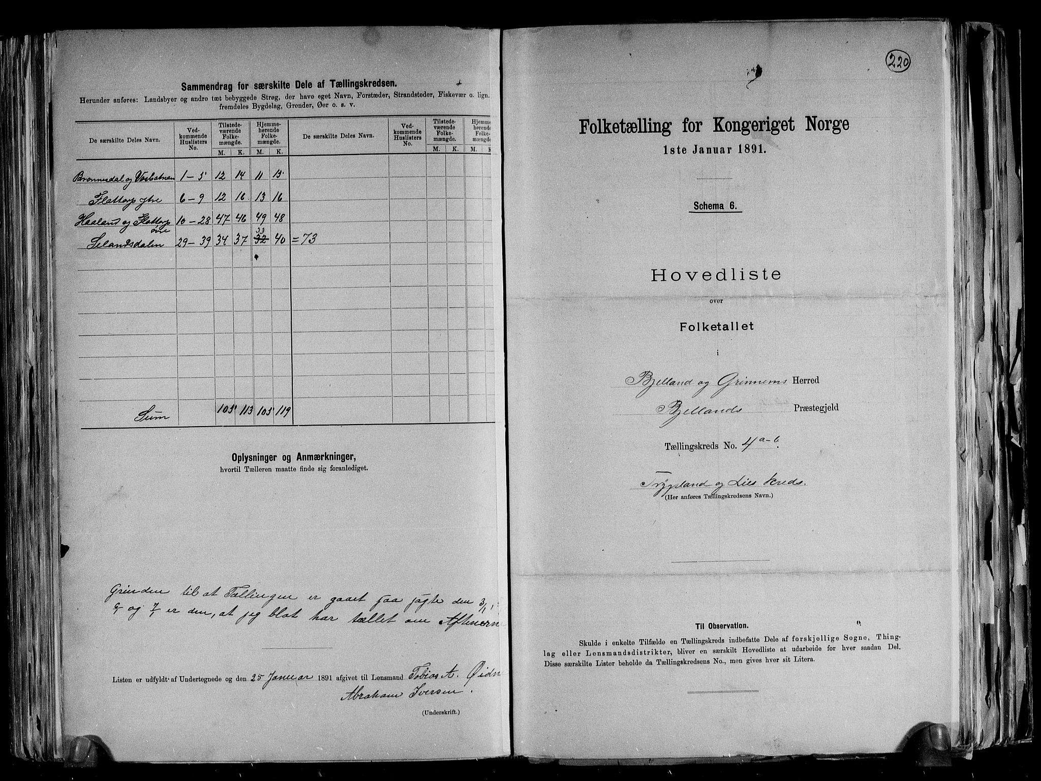 RA, Folketelling 1891 for 1024 Bjelland og Grindheim herred, 1891, s. 18