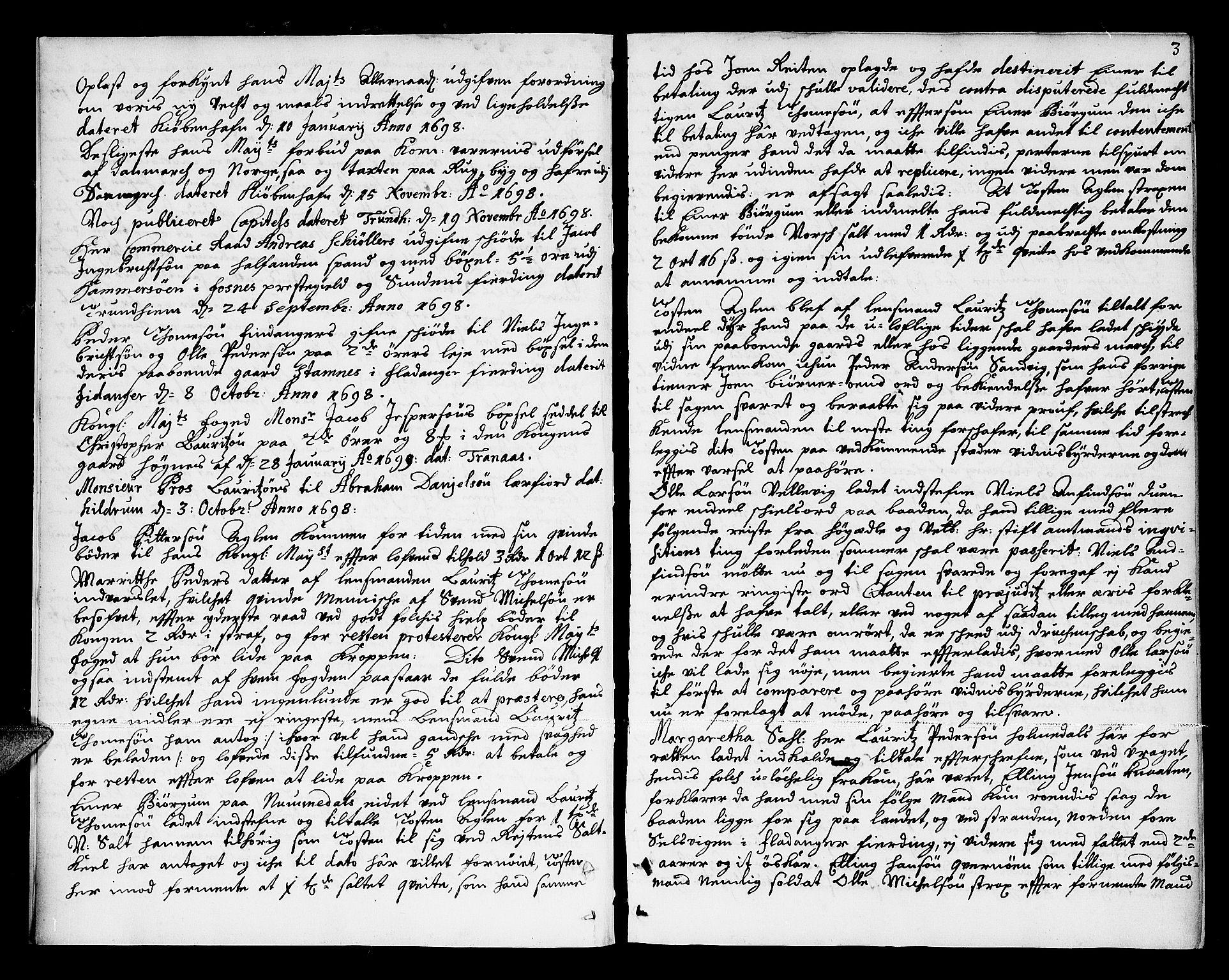 SAT, Namdal sorenskriveri, 1/1A/L0003: Tingbok, 1699-1712, s. 2b-3a
