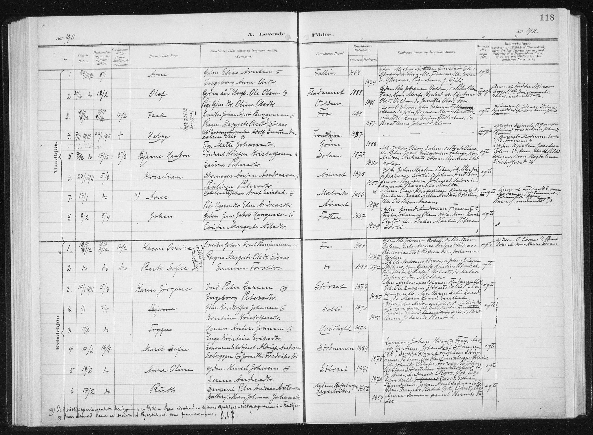 SAT, Ministerialprotokoller, klokkerbøker og fødselsregistre - Sør-Trøndelag, 647/L0635: Ministerialbok nr. 647A02, 1896-1911, s. 118