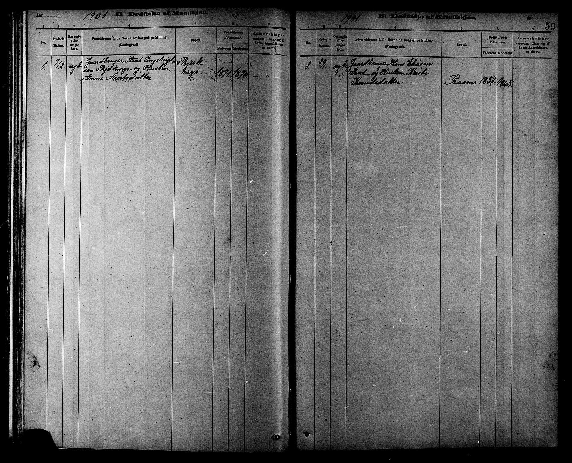 SAT, Ministerialprotokoller, klokkerbøker og fødselsregistre - Sør-Trøndelag, 608/L0341: Klokkerbok nr. 608C07, 1890-1912, s. 59