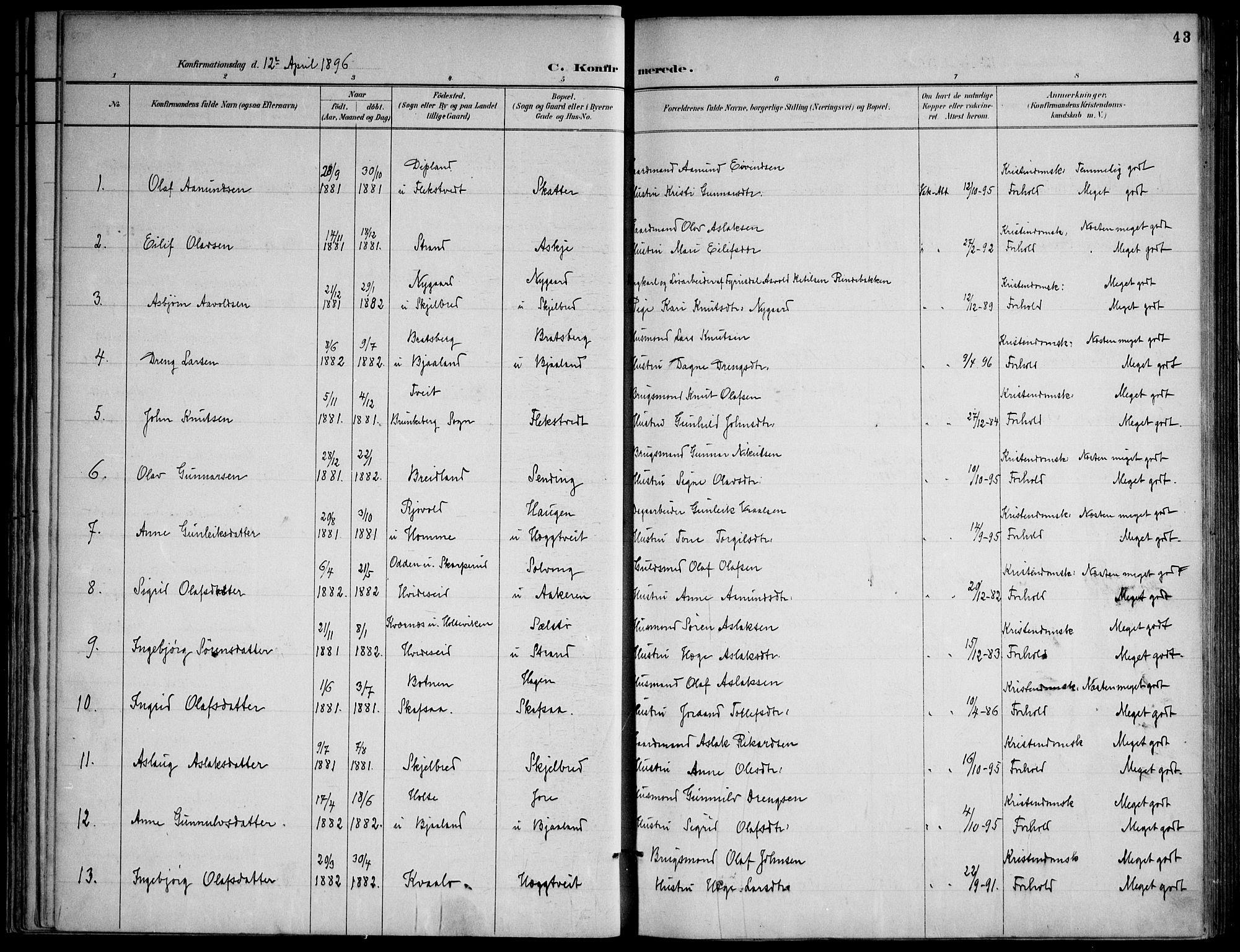 SAKO, Lårdal kirkebøker, F/Fa/L0007: Ministerialbok nr. I 7, 1887-1906, s. 43