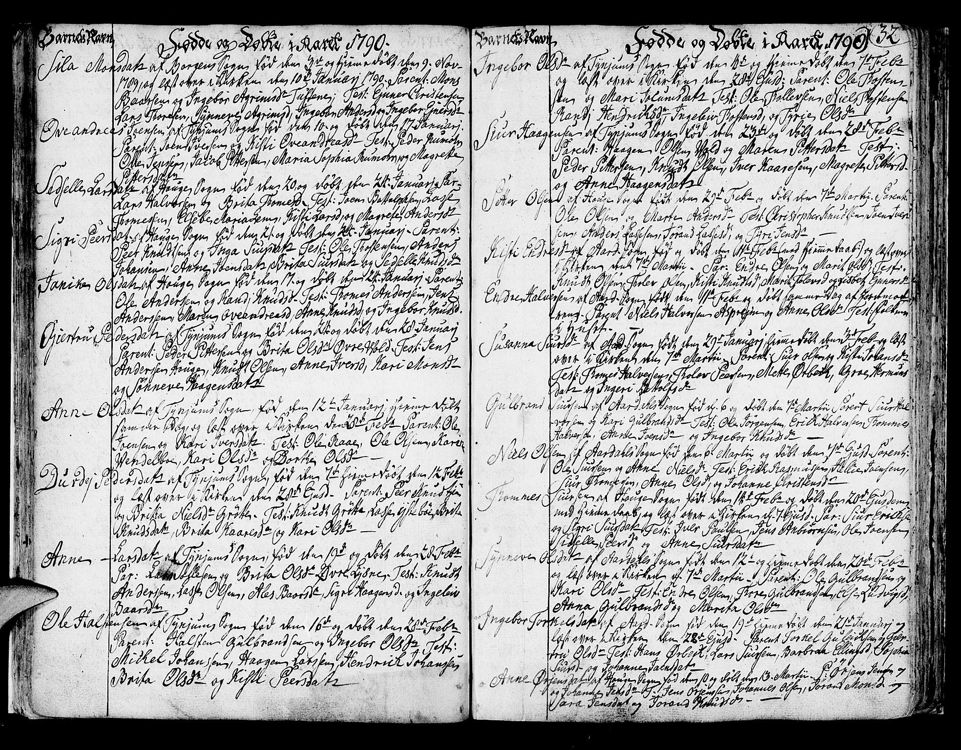 SAB, Lærdal sokneprestembete, Ministerialbok nr. A 3, 1783-1804, s. 32