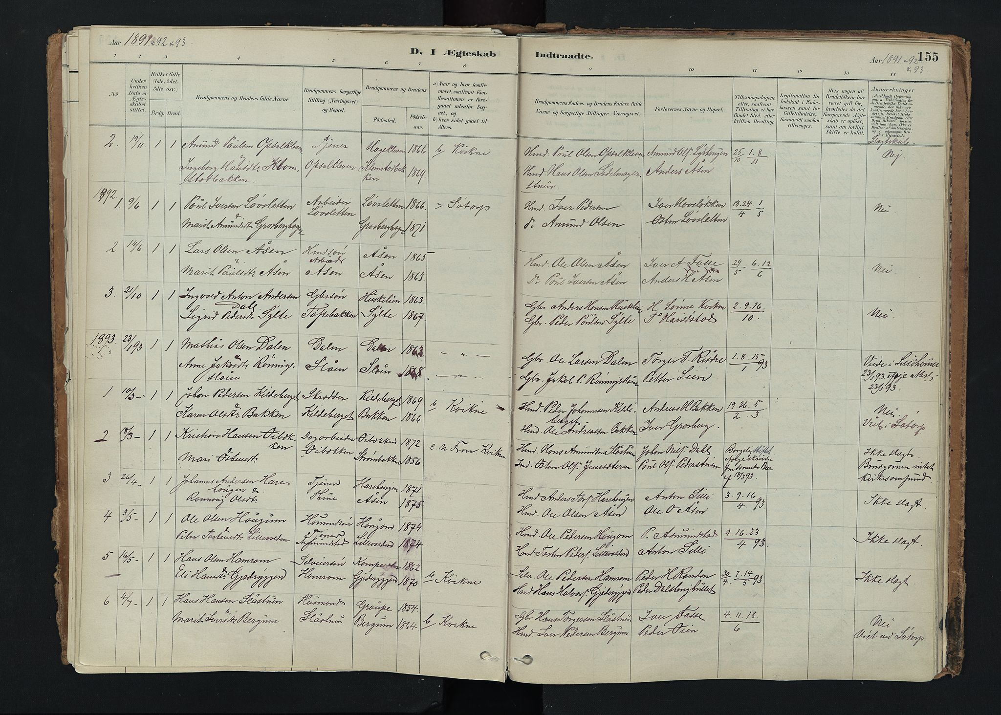 SAH, Nord-Fron prestekontor, Ministerialbok nr. 5, 1884-1914, s. 155