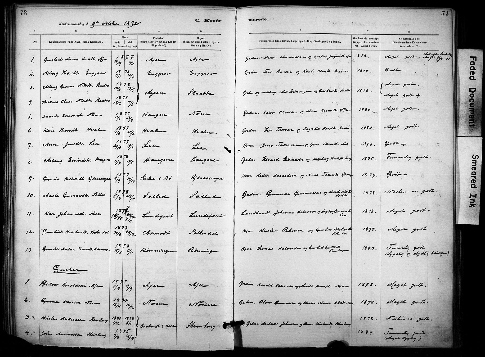 SAKO, Lunde kirkebøker, F/Fa/L0002: Ministerialbok nr. I 2, 1884-1892, s. 73