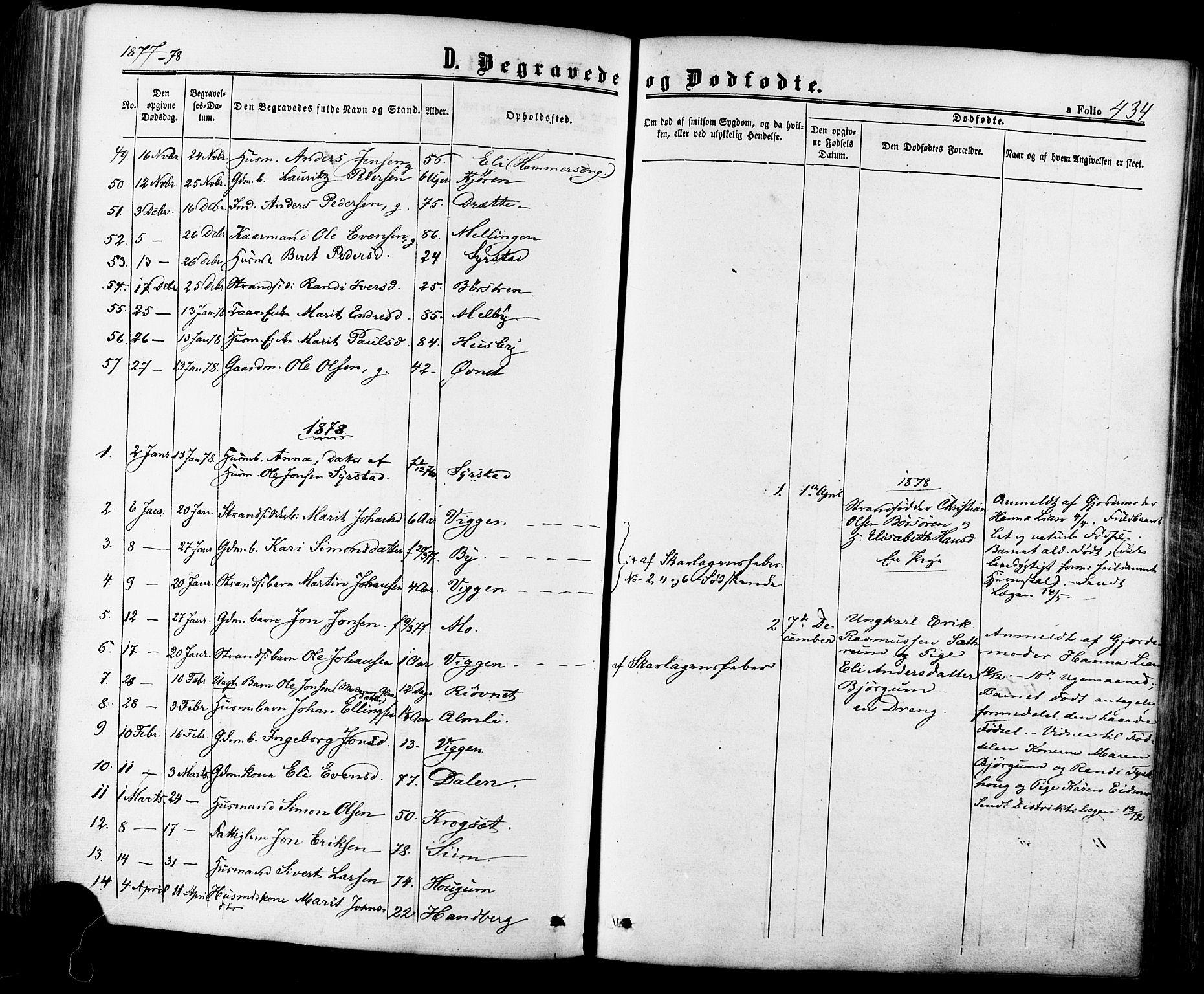 SAT, Ministerialprotokoller, klokkerbøker og fødselsregistre - Sør-Trøndelag, 665/L0772: Ministerialbok nr. 665A07, 1856-1878, s. 434