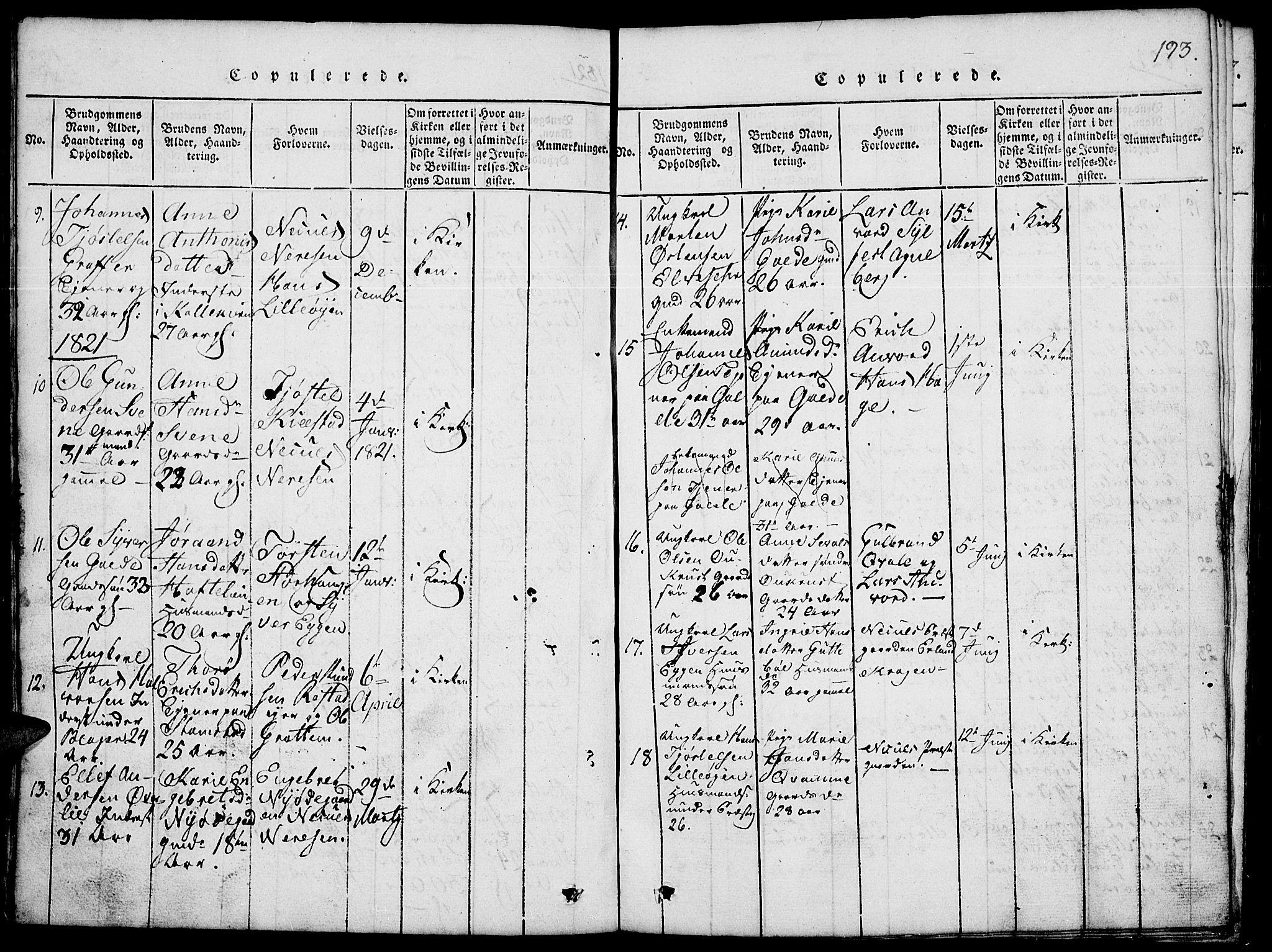 SAH, Lom prestekontor, L/L0001: Klokkerbok nr. 1, 1815-1836, s. 193