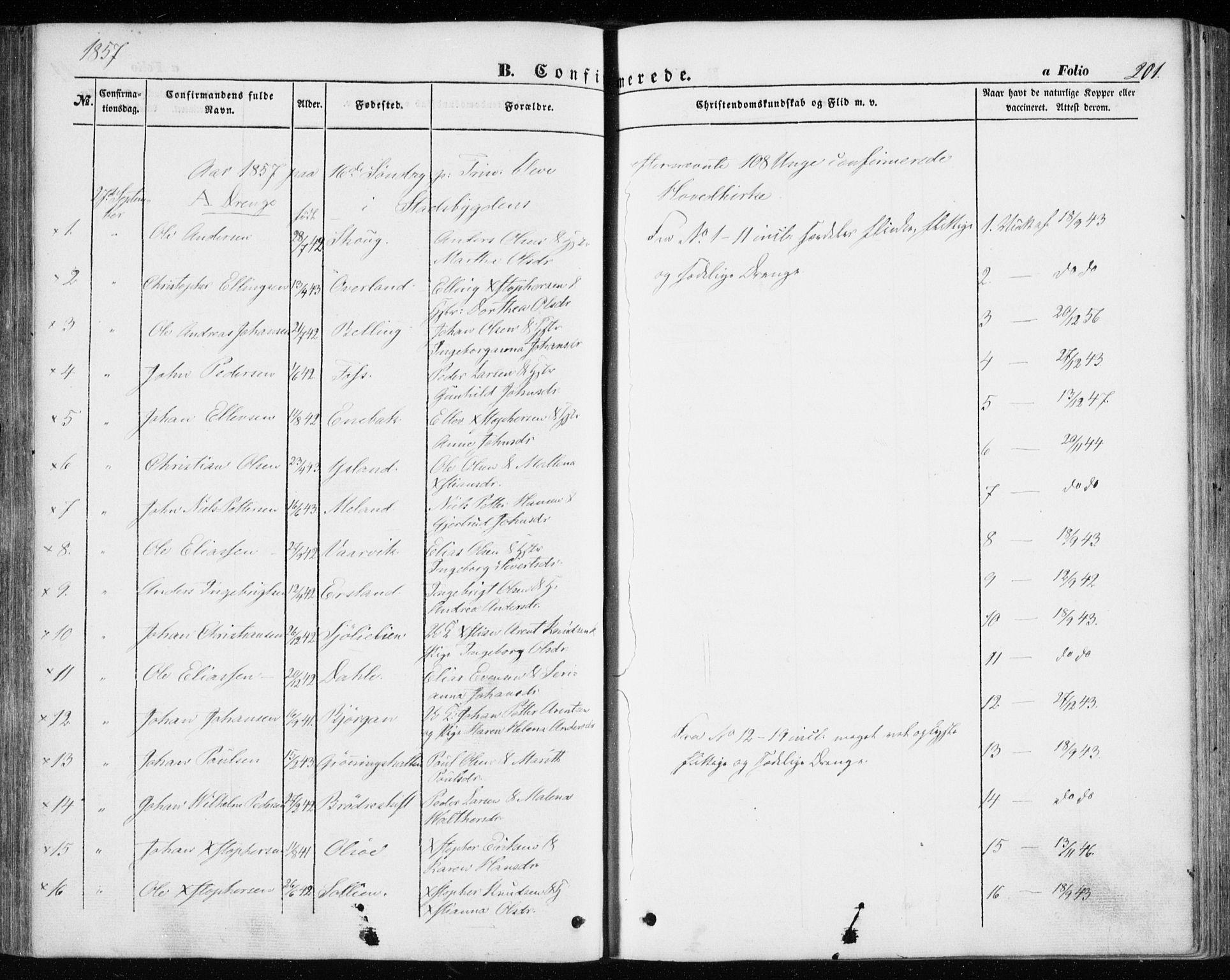 SAT, Ministerialprotokoller, klokkerbøker og fødselsregistre - Sør-Trøndelag, 646/L0611: Ministerialbok nr. 646A09, 1848-1857, s. 201