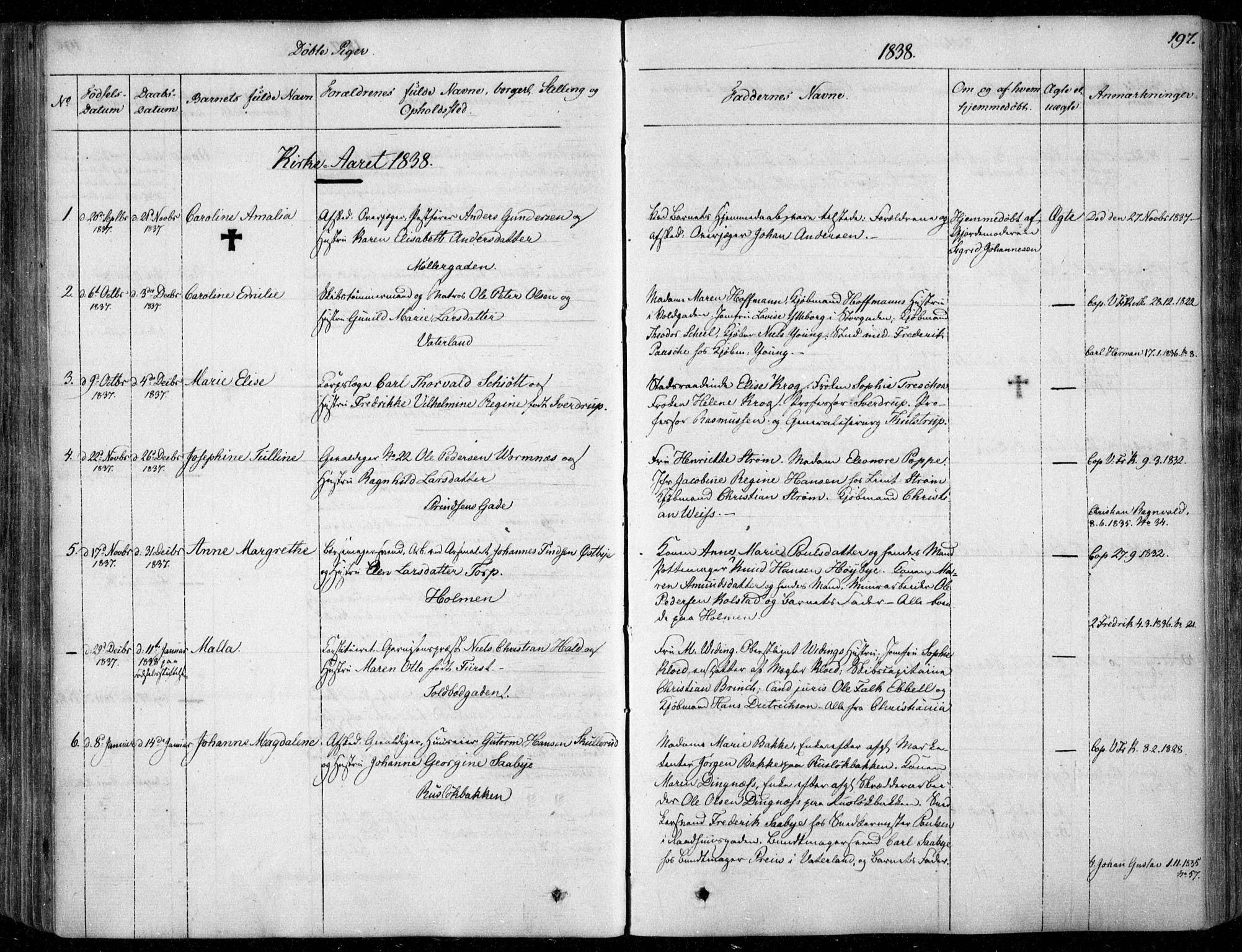 SAO, Garnisonsmenigheten Kirkebøker, F/Fa/L0006: Ministerialbok nr. 6, 1828-1841, s. 197