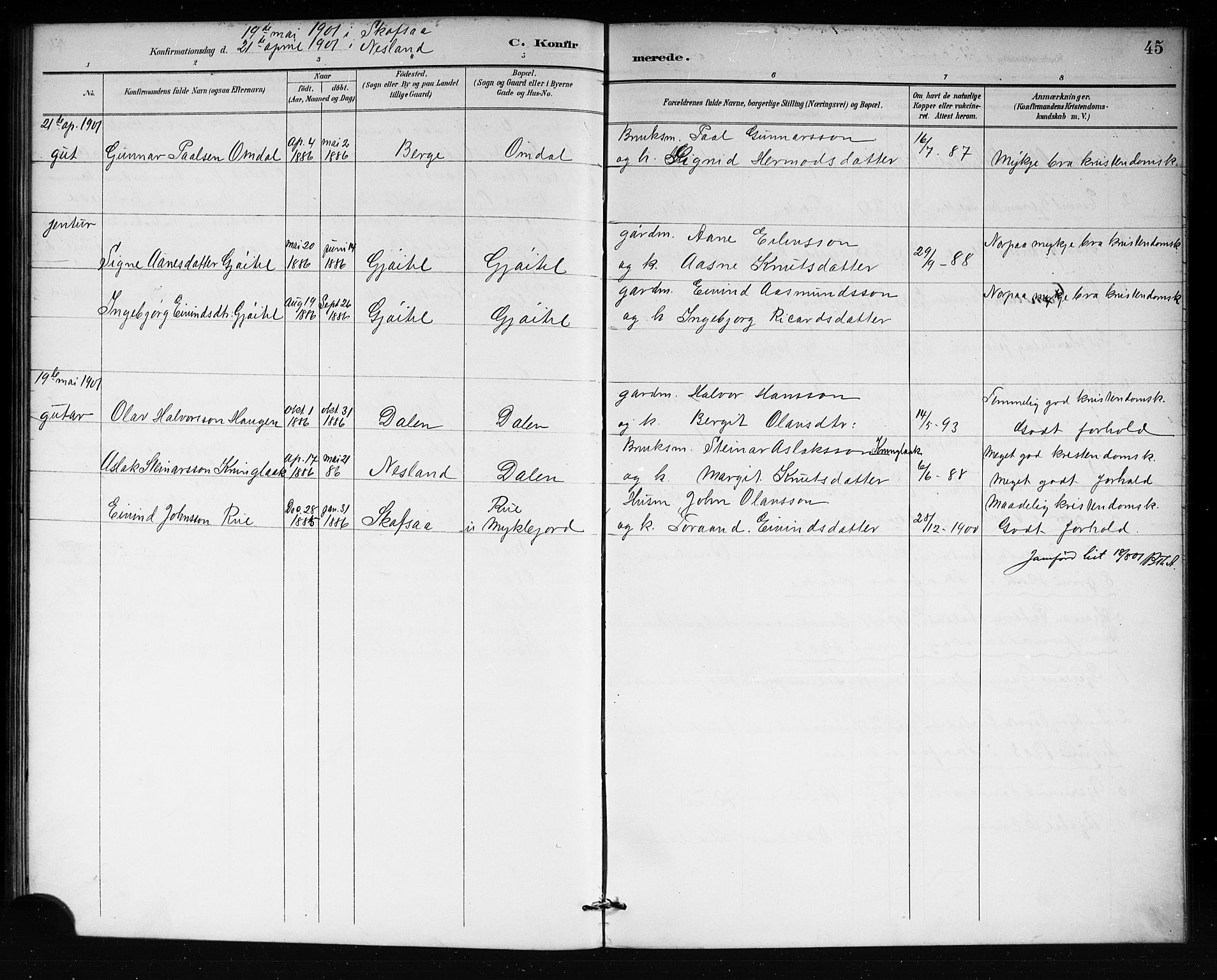SAKO, Lårdal kirkebøker, G/Gb/L0003: Klokkerbok nr. II 3, 1889-1920, s. 45