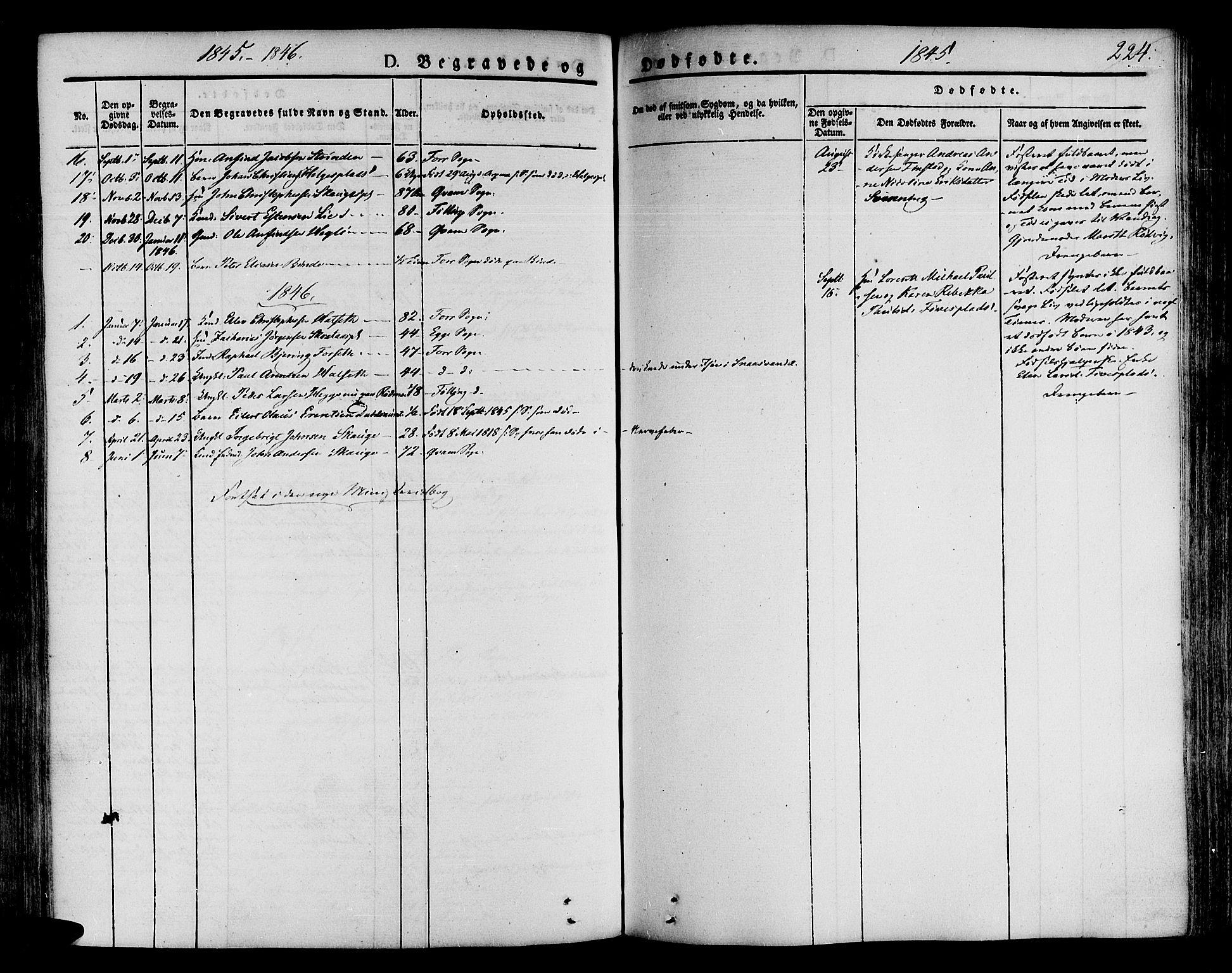 SAT, Ministerialprotokoller, klokkerbøker og fødselsregistre - Nord-Trøndelag, 746/L0445: Ministerialbok nr. 746A04, 1826-1846, s. 224