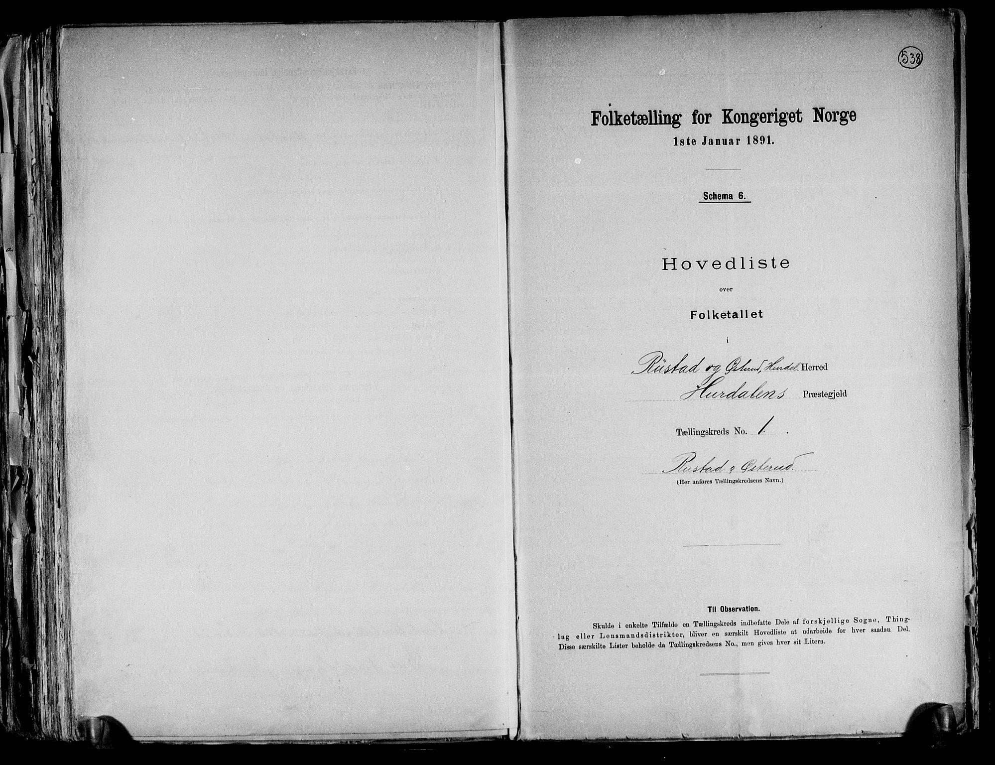 RA, Folketelling 1891 for 0239 Hurdal herred, 1891, s. 4