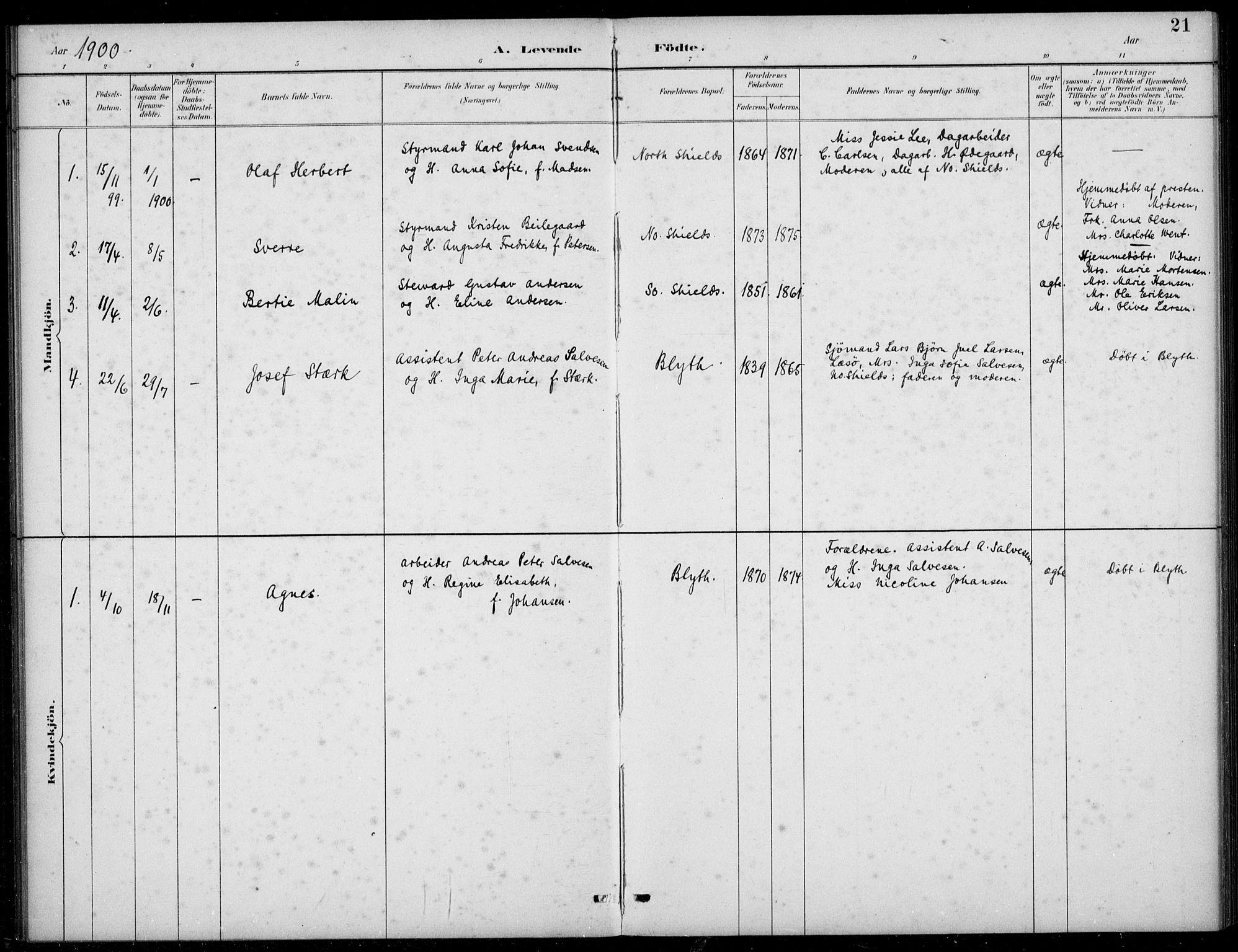 SAB, Den Norske Sjømannsmisjon i utlandet*, Ministerialbok nr. A 2, 1883-1936, s. 21