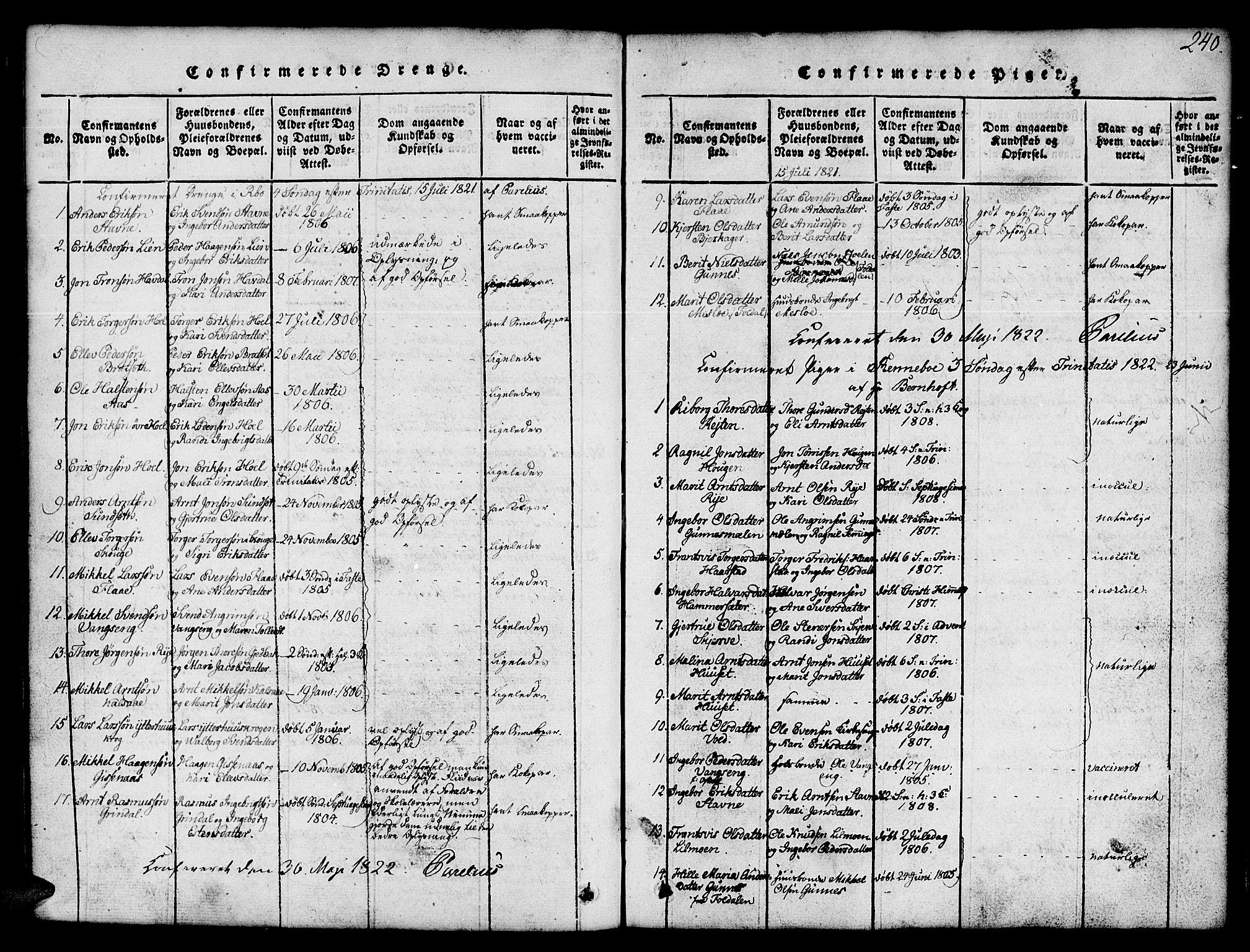 SAT, Ministerialprotokoller, klokkerbøker og fødselsregistre - Sør-Trøndelag, 674/L0874: Klokkerbok nr. 674C01, 1816-1860, s. 240