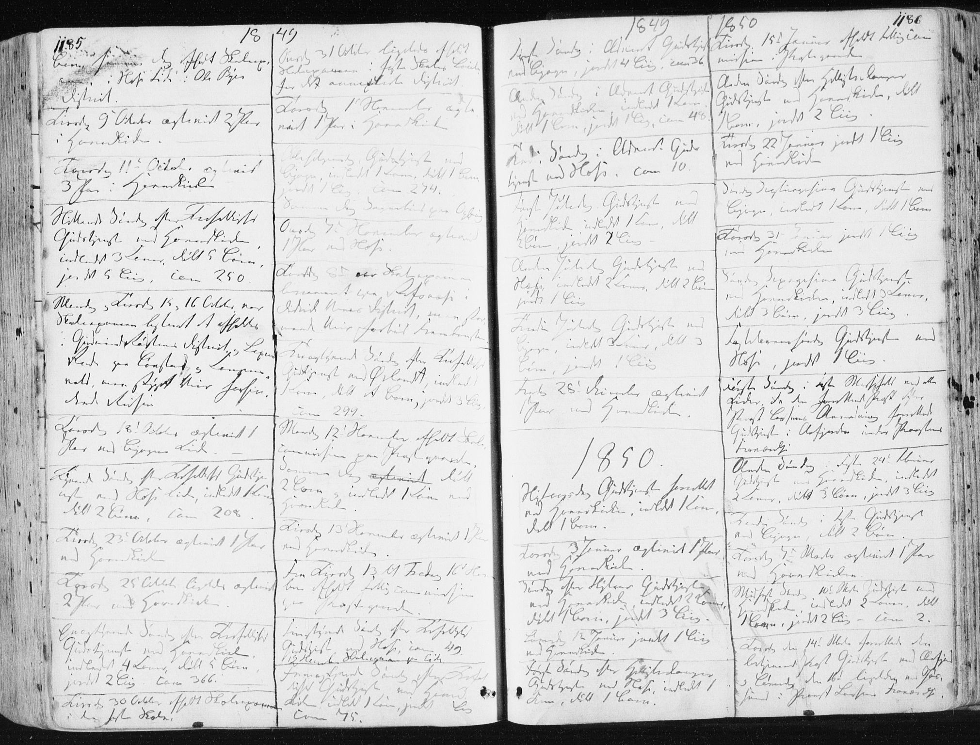 SAT, Ministerialprotokoller, klokkerbøker og fødselsregistre - Sør-Trøndelag, 659/L0736: Ministerialbok nr. 659A06, 1842-1856, s. 1185-1186