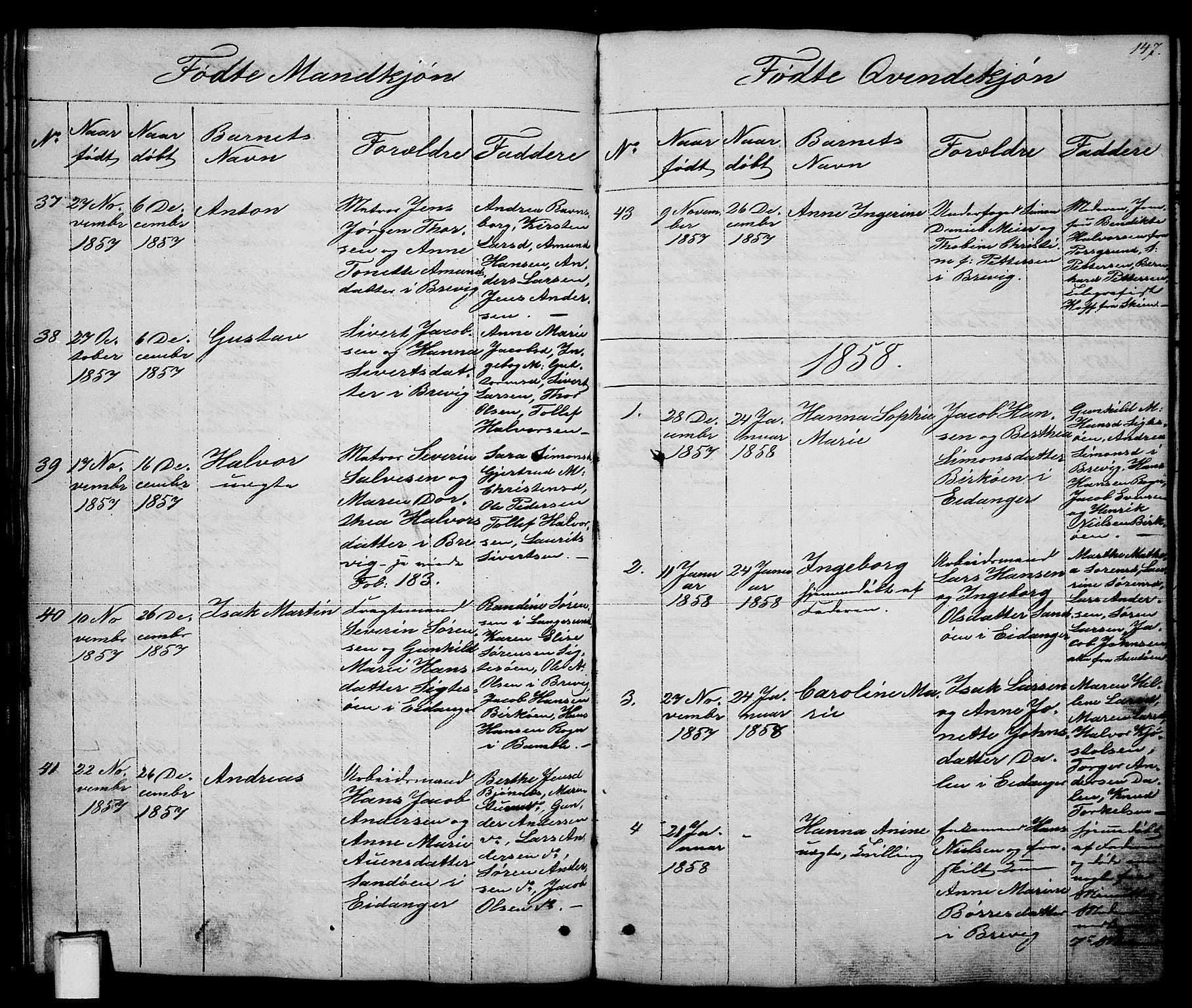 SAKO, Brevik kirkebøker, G/Ga/L0002: Klokkerbok nr. 2, 1846-1865, s. 147