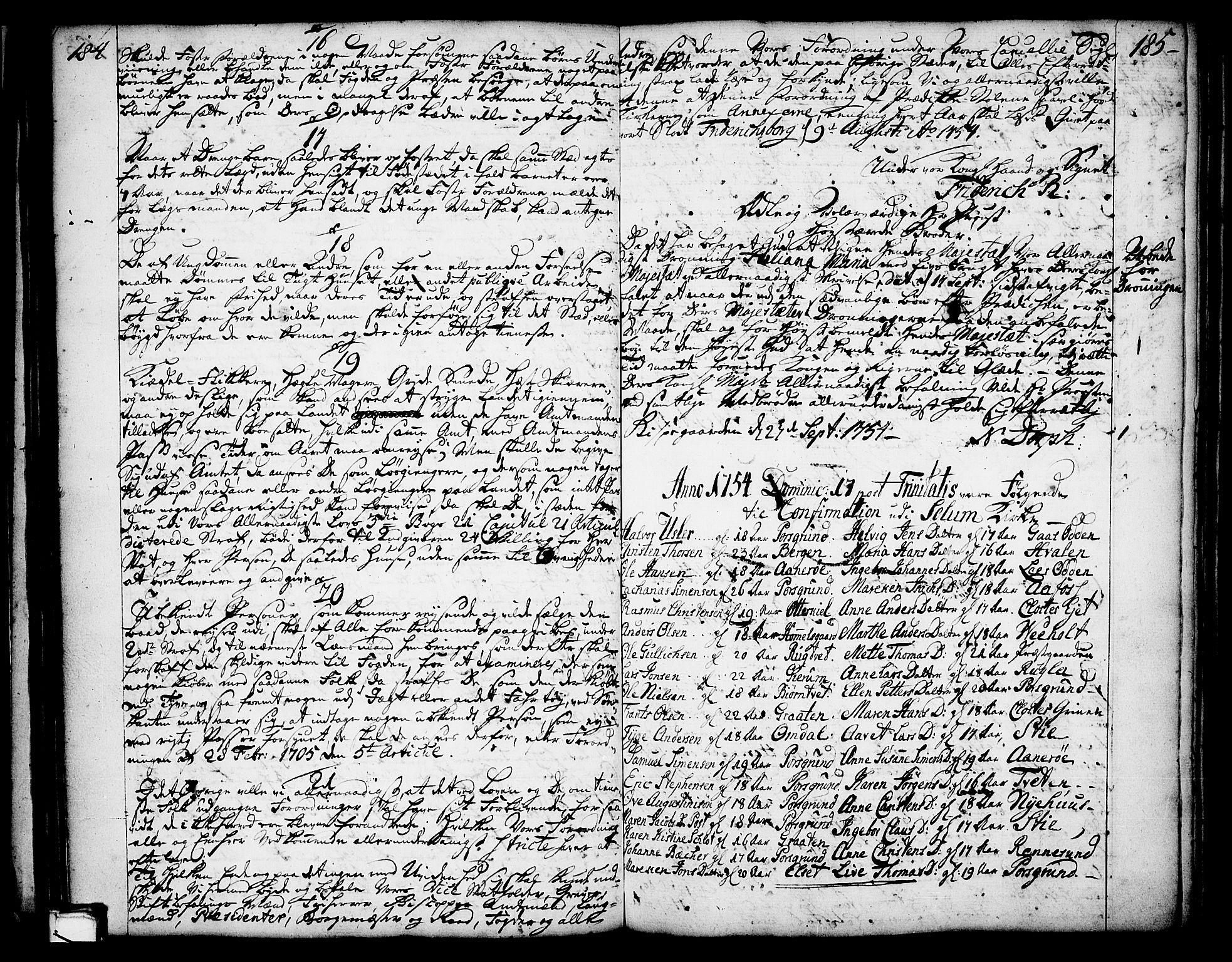 SAKO, Solum sokneprestkontor, A/Aa/L0002: Annen kirkebok nr. 2, 1743-1791, s. 184-185