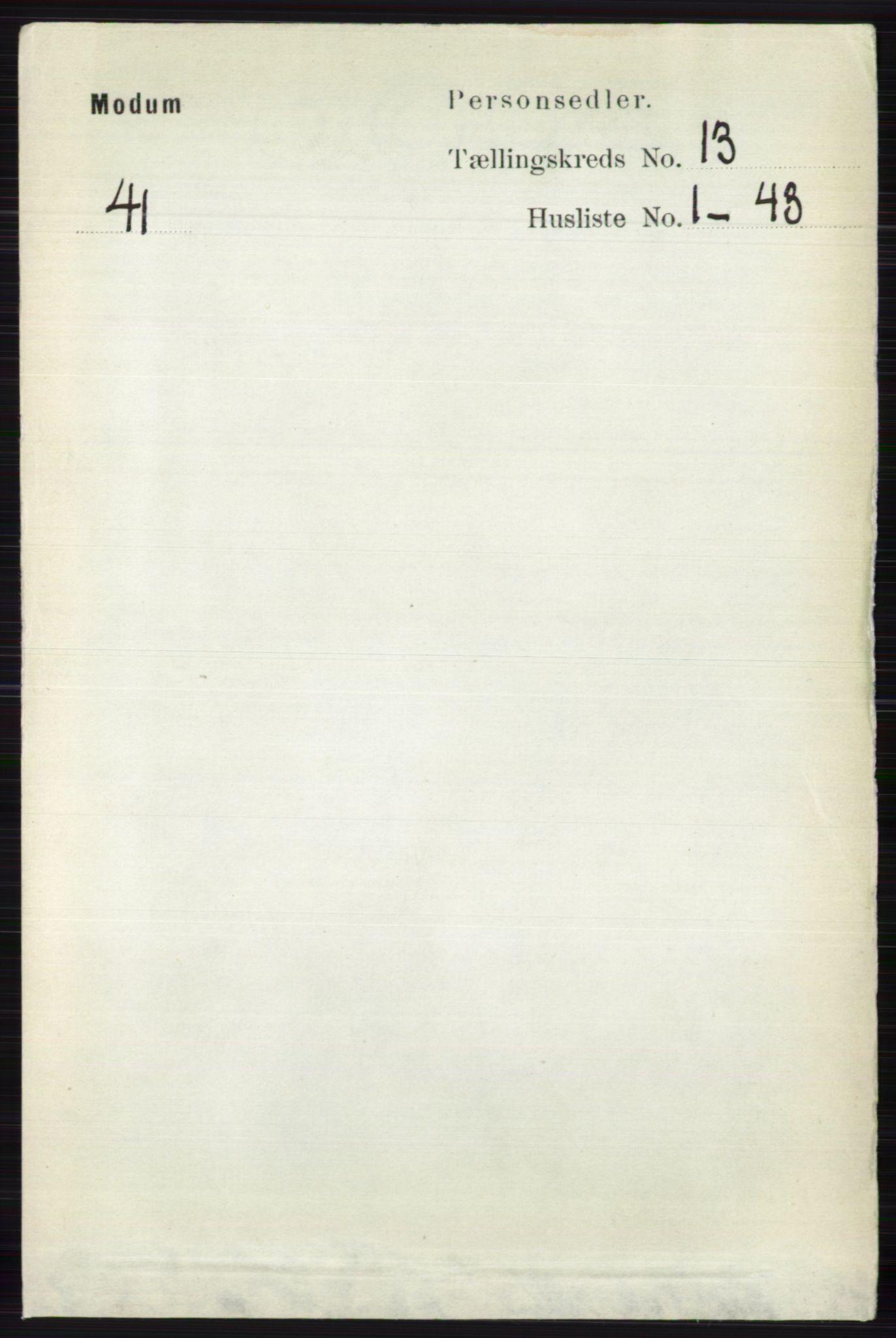 RA, Folketelling 1891 for 0623 Modum herred, 1891, s. 4949