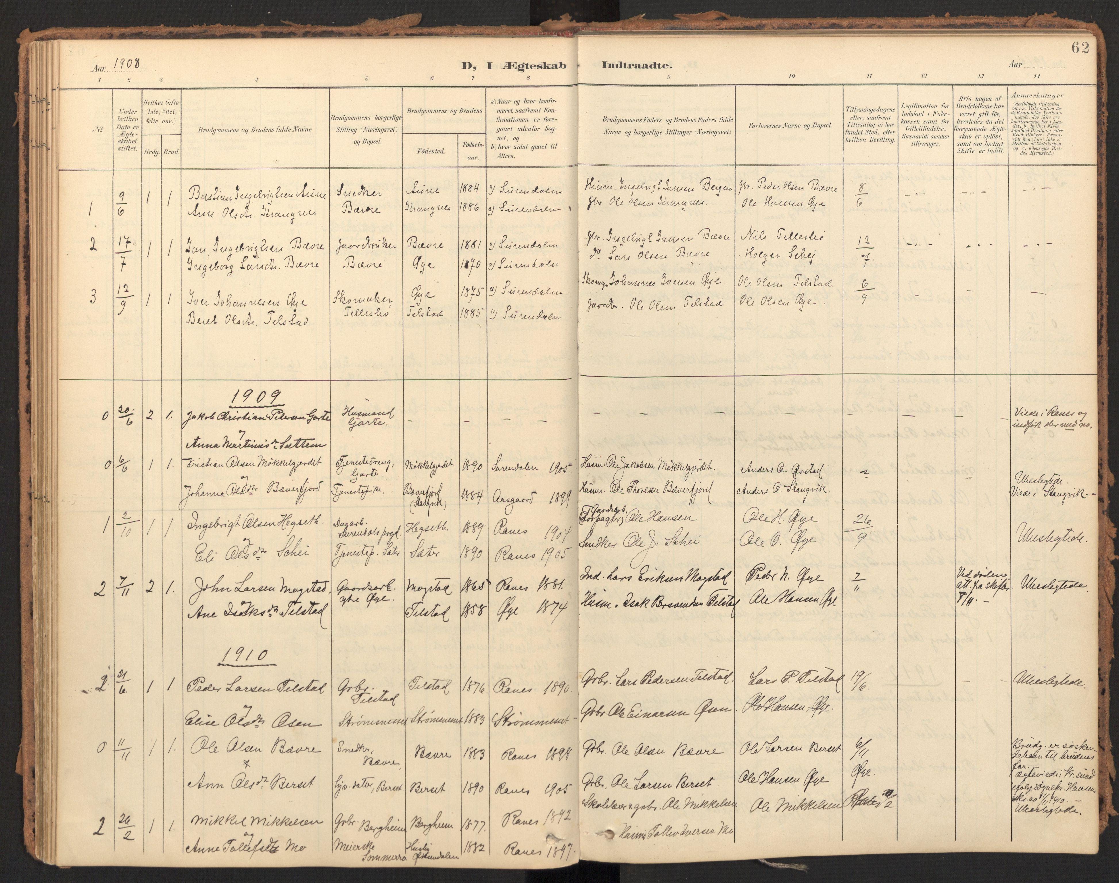 SAT, Ministerialprotokoller, klokkerbøker og fødselsregistre - Møre og Romsdal, 595/L1048: Ministerialbok nr. 595A10, 1900-1917, s. 62