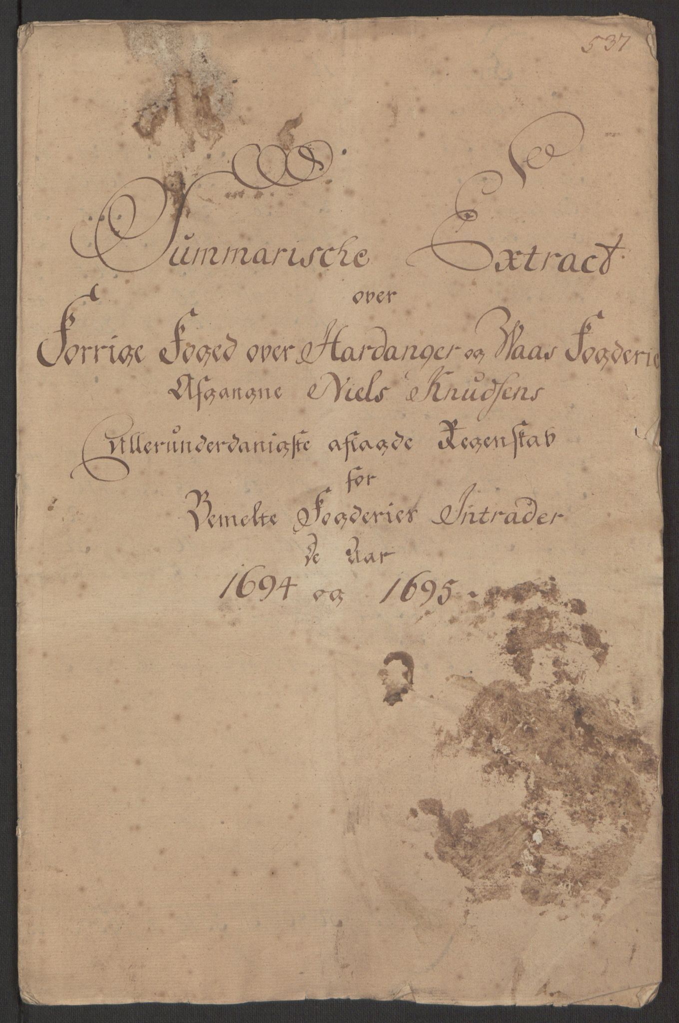 RA, Rentekammeret inntil 1814, Reviderte regnskaper, Fogderegnskap, R48/L2976: Fogderegnskap Sunnhordland og Hardanger, 1695-1696, s. 215