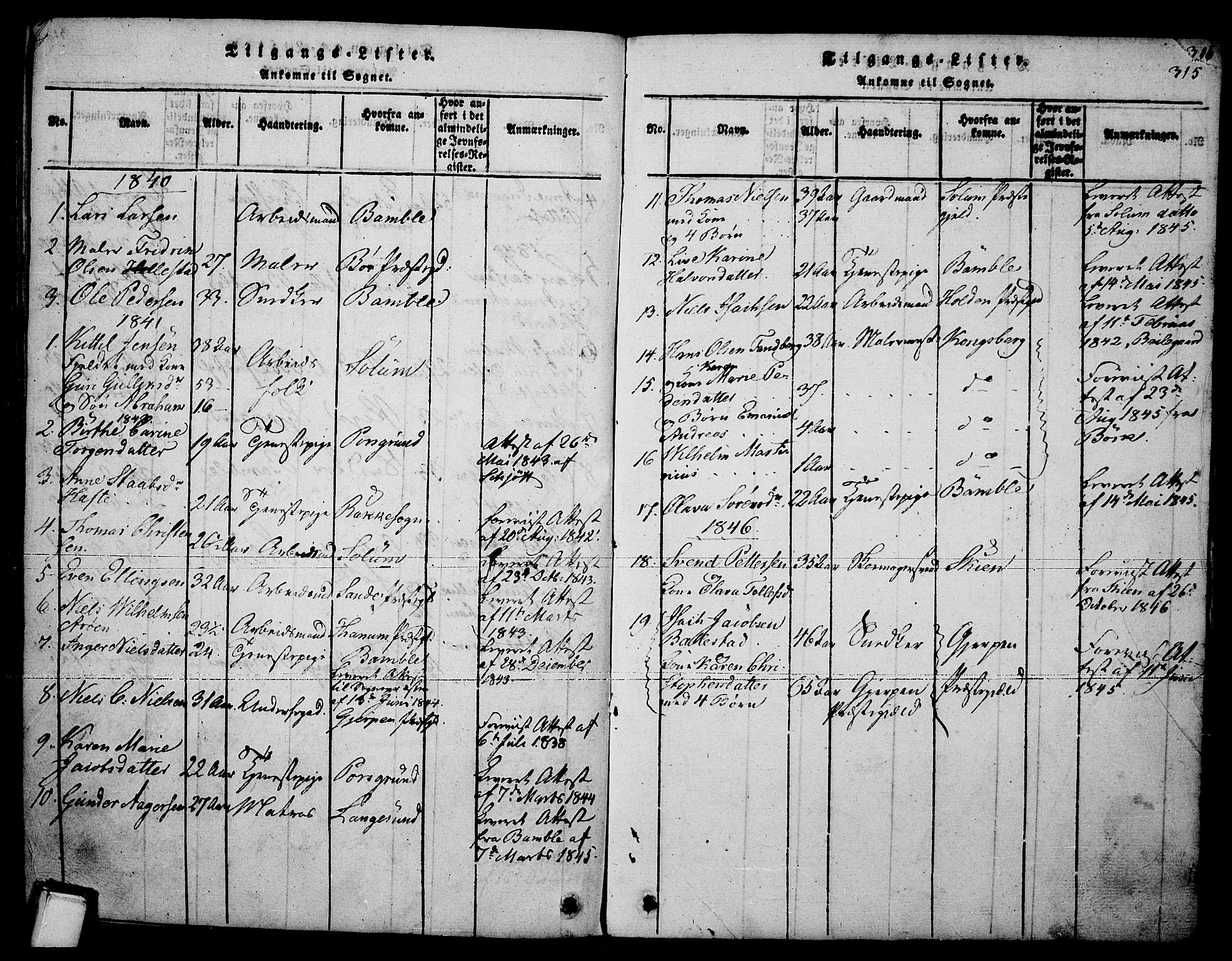 SAKO, Brevik kirkebøker, F/Fa/L0004: Ministerialbok nr. 4, 1814-1846, s. 315